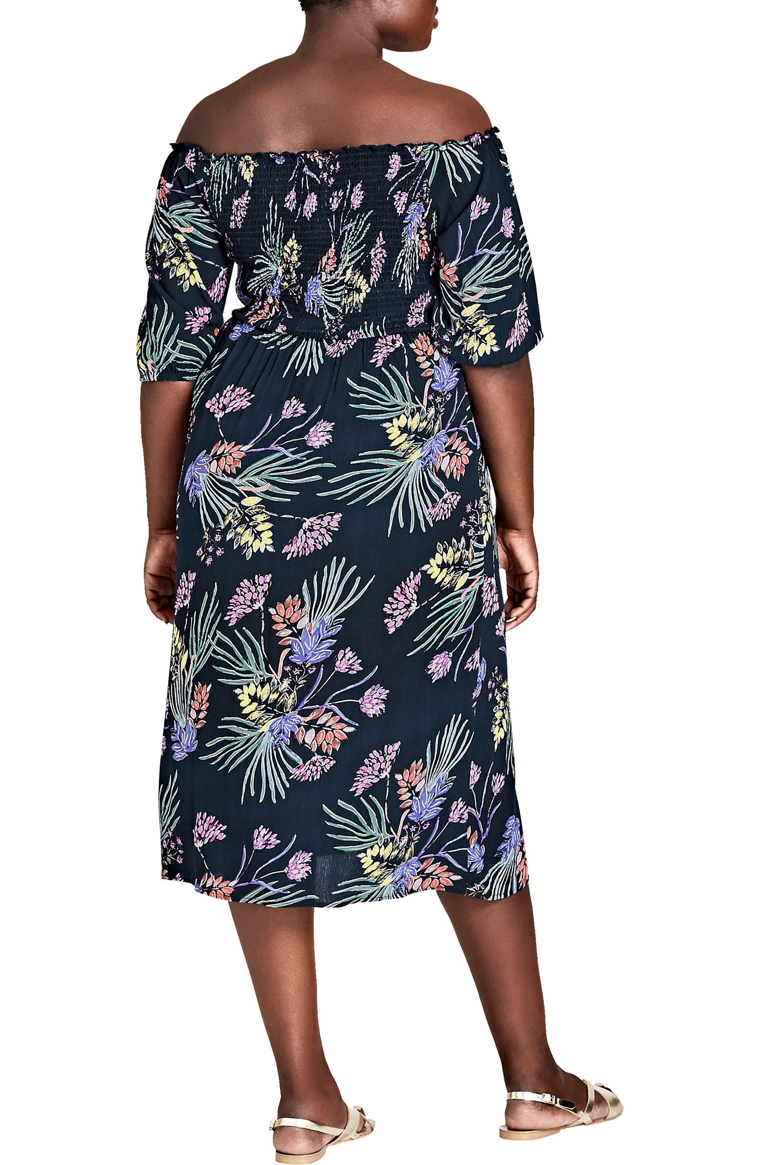 Island Floral Off the Shoulder Midi Dress,                             Alternate thumbnail 2, color,                             EXOTIC GARDEN
