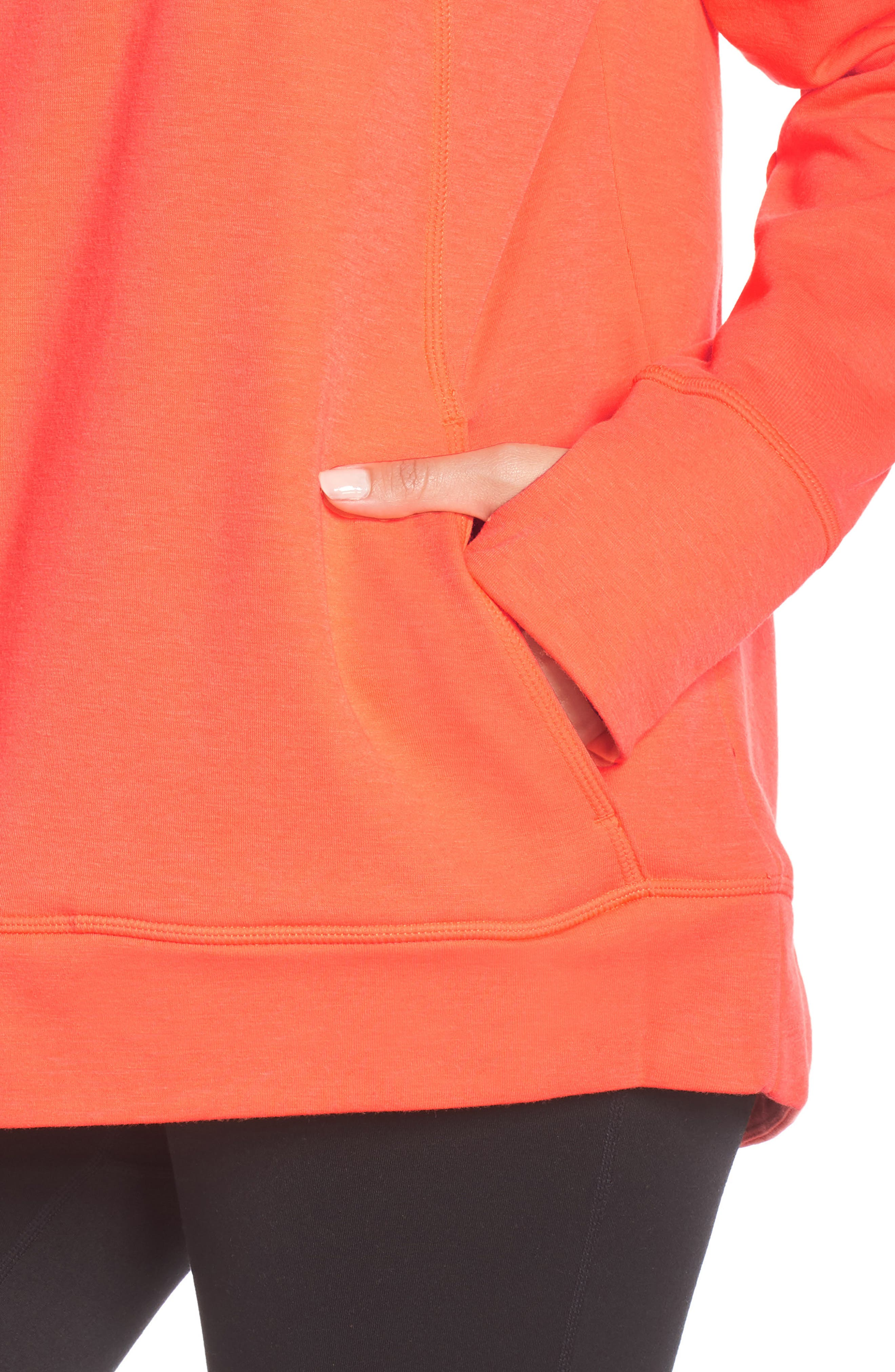 Pleated Tech Run Hoodie,                             Alternate thumbnail 4, color,                             CORAL