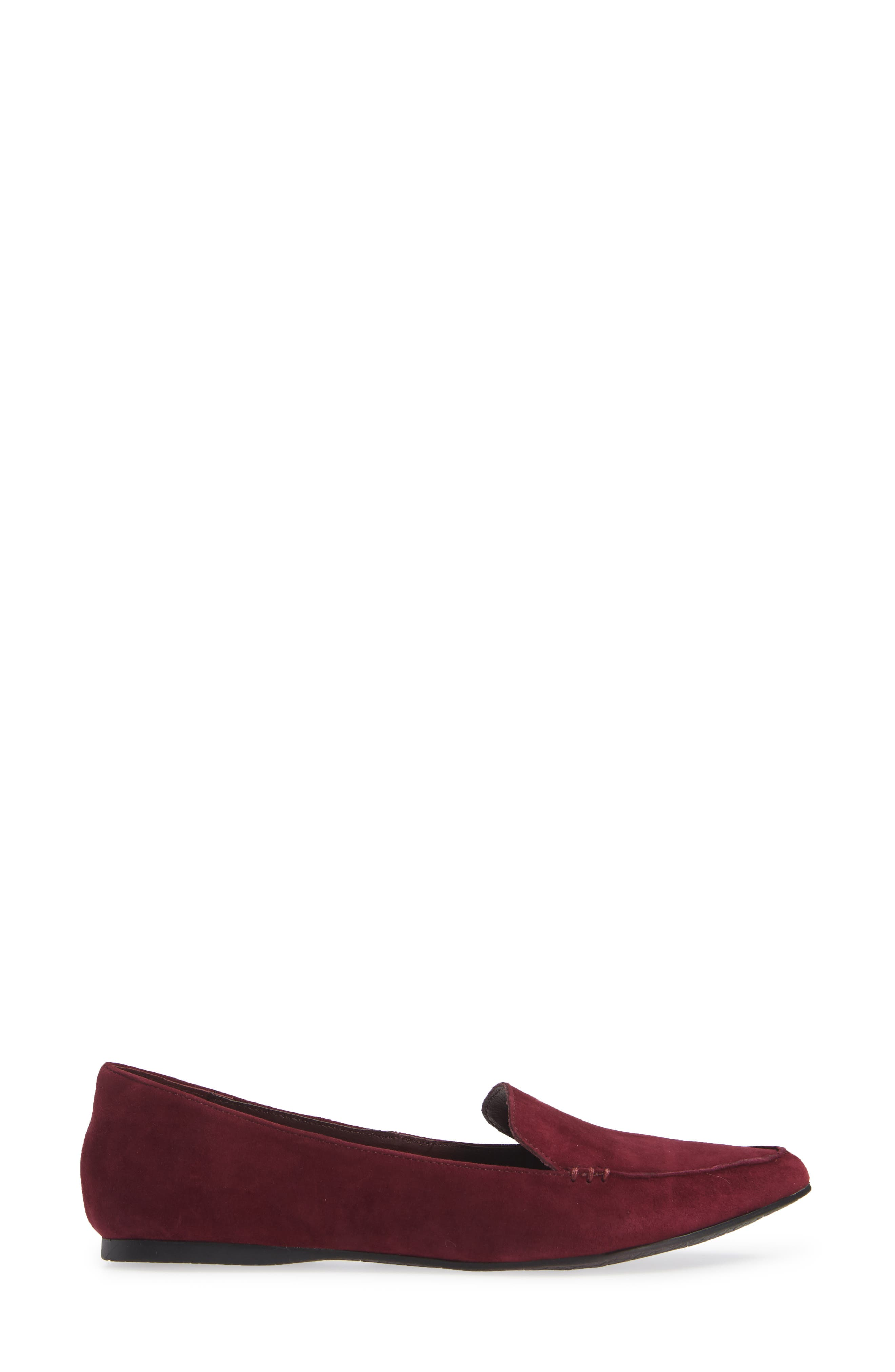 Feather Loafer Flat,                             Alternate thumbnail 3, color,                             BURGUNDY