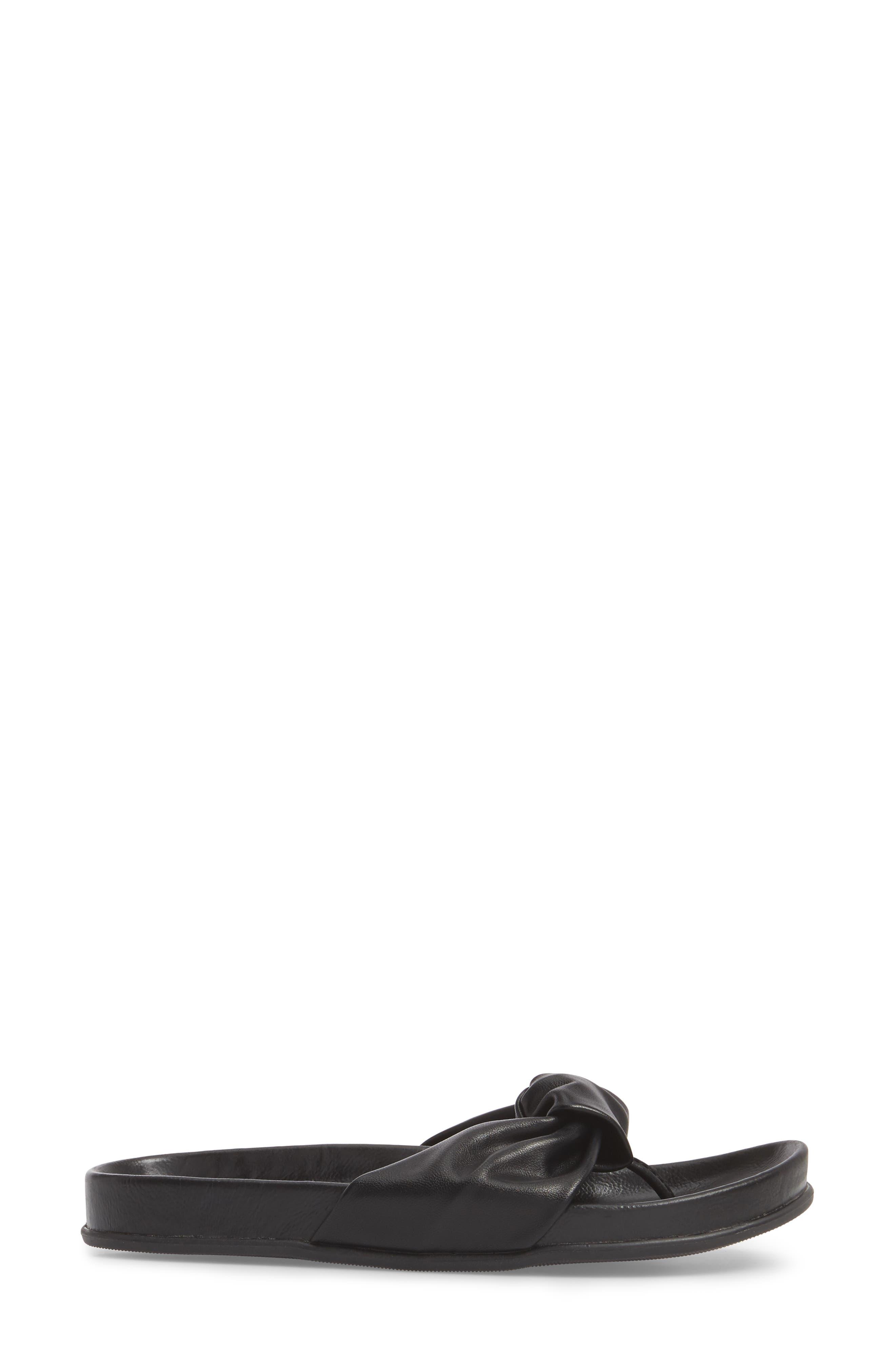 Glaze Bow Sandal,                             Alternate thumbnail 3, color,                             BLACK