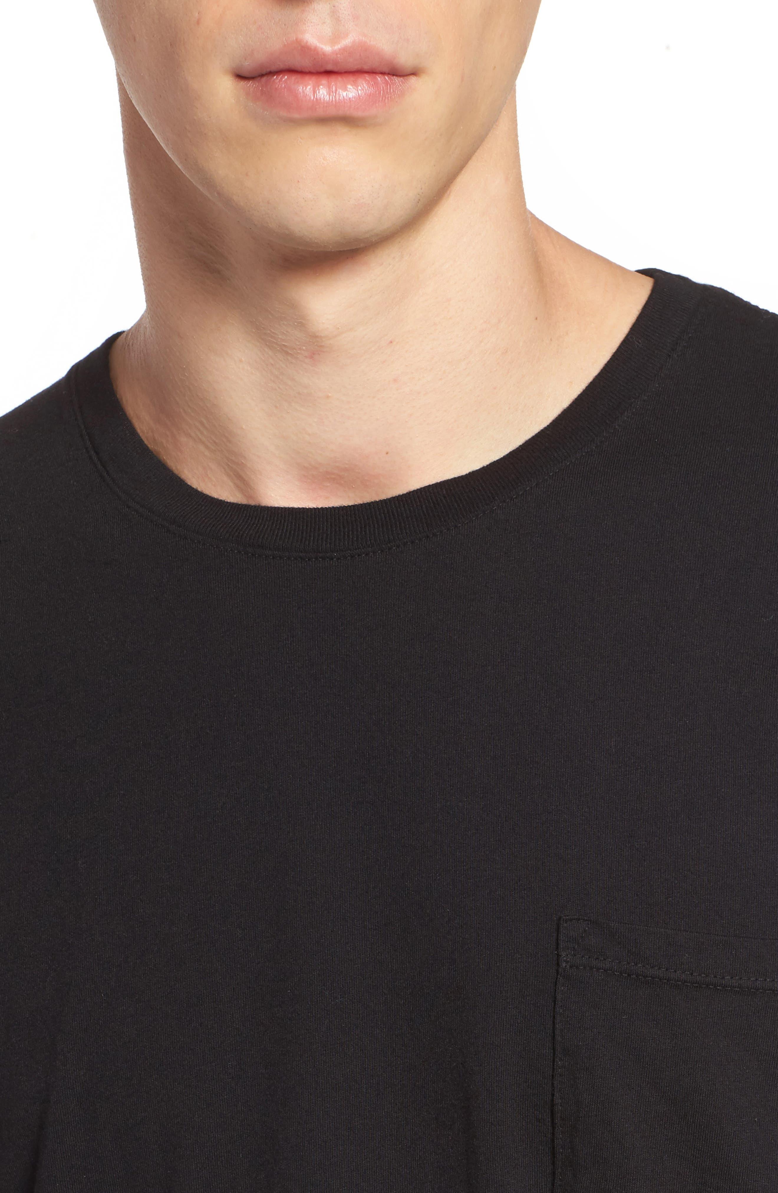 Lounge Long Sleeve Pocket T-Shirt,                             Alternate thumbnail 4, color,                             BLACK