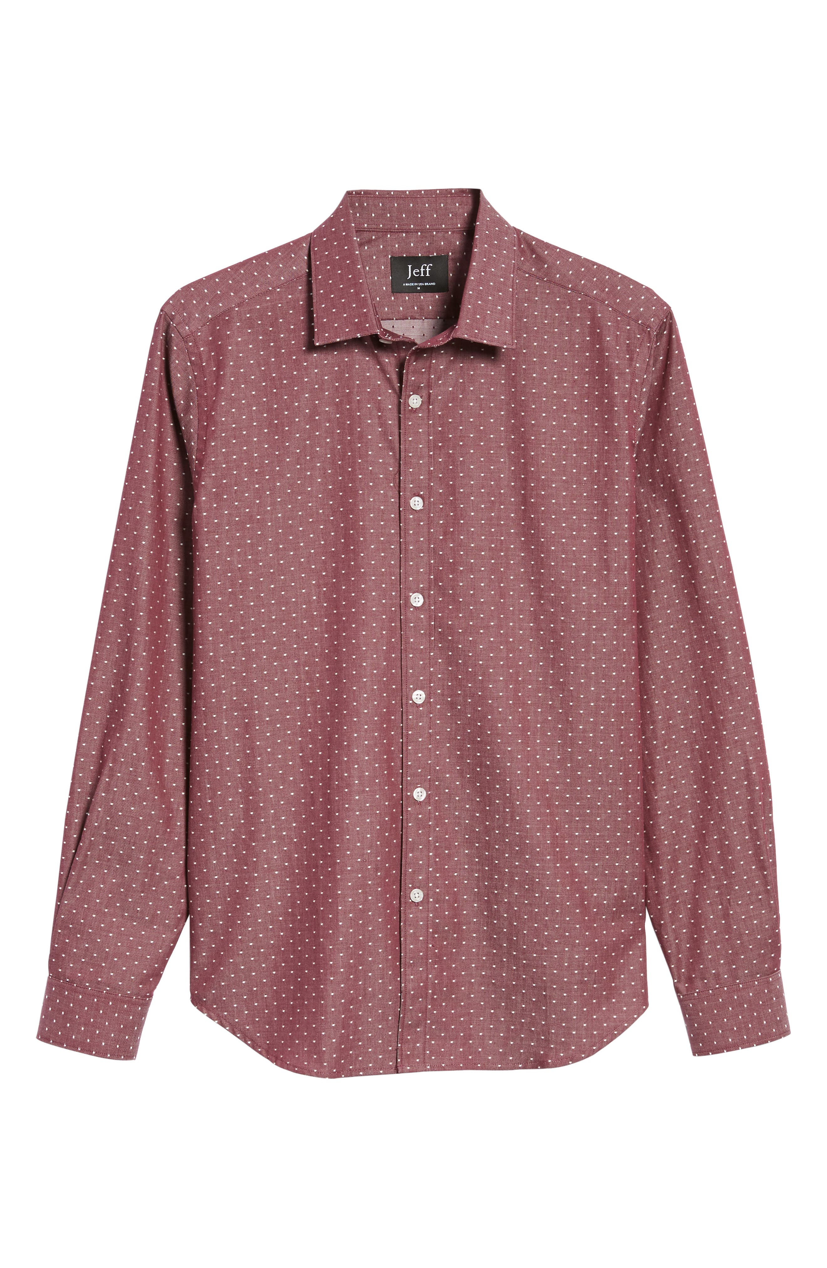 Slim Fit Dot Print Sport Shirt,                             Alternate thumbnail 6, color,                             930