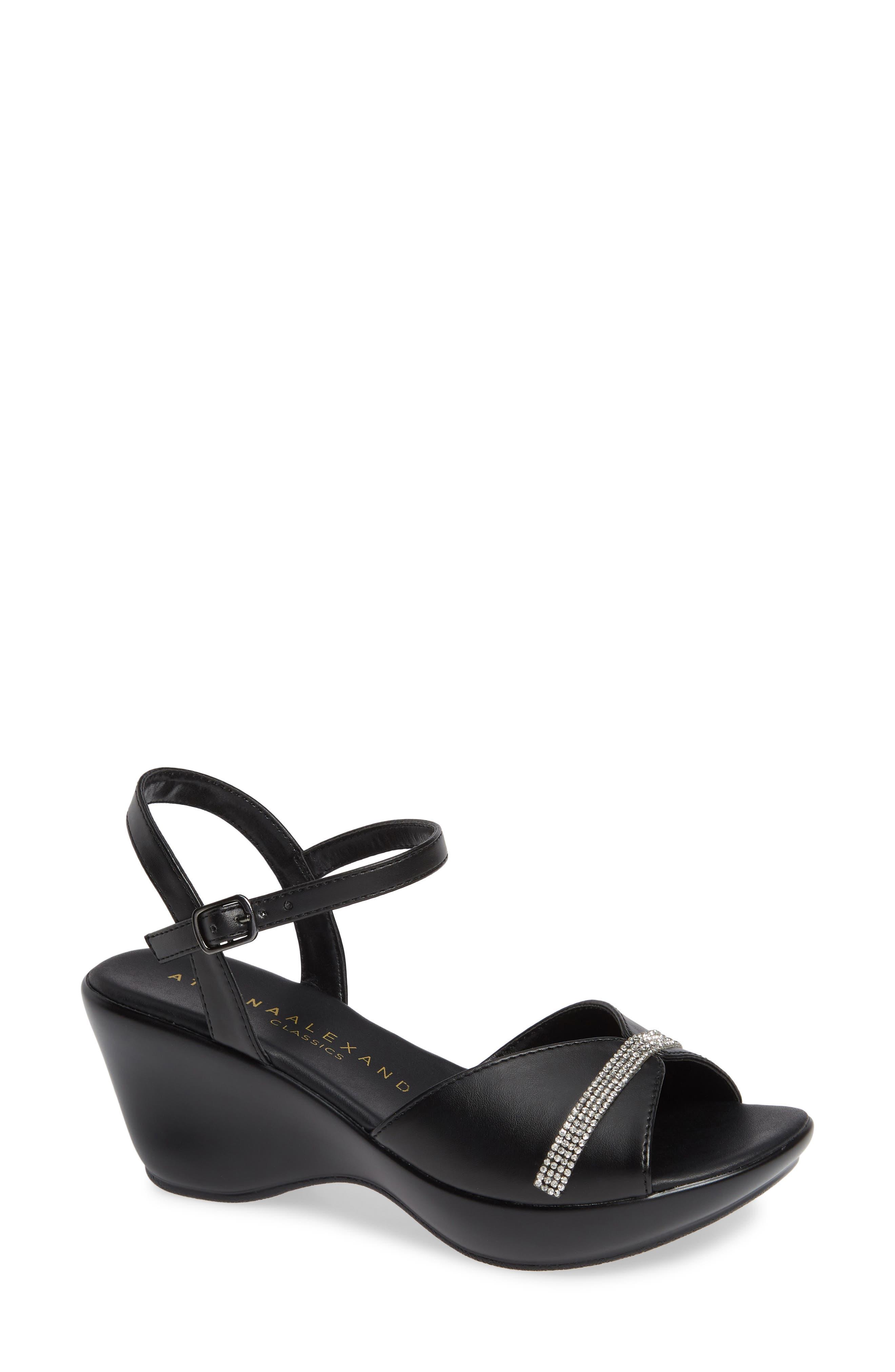 Ambling Wedge Sandal,                             Main thumbnail 1, color,                             BLACK