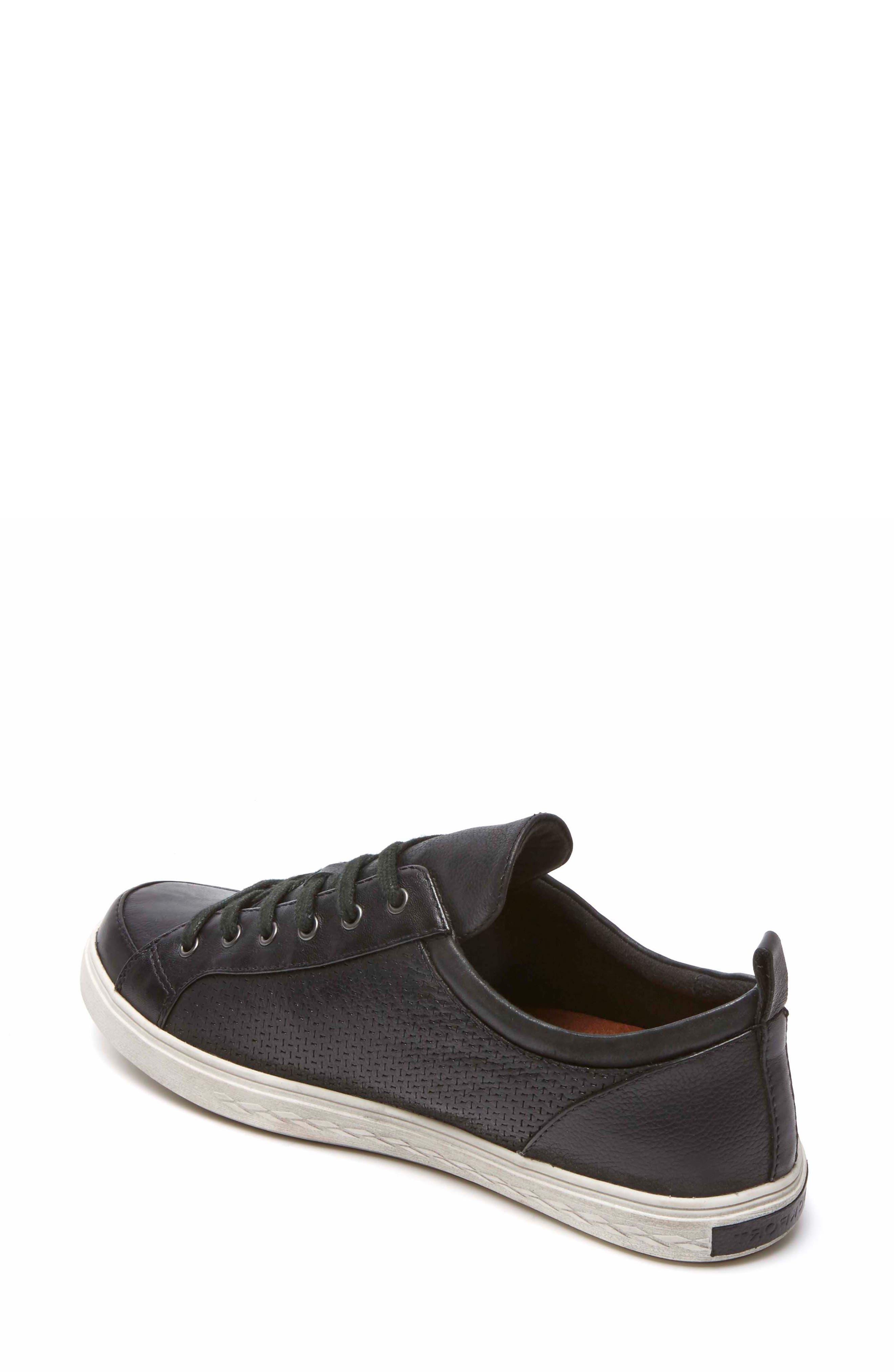 Willa Sneaker,                             Alternate thumbnail 2, color,                             BLACK LEATHER