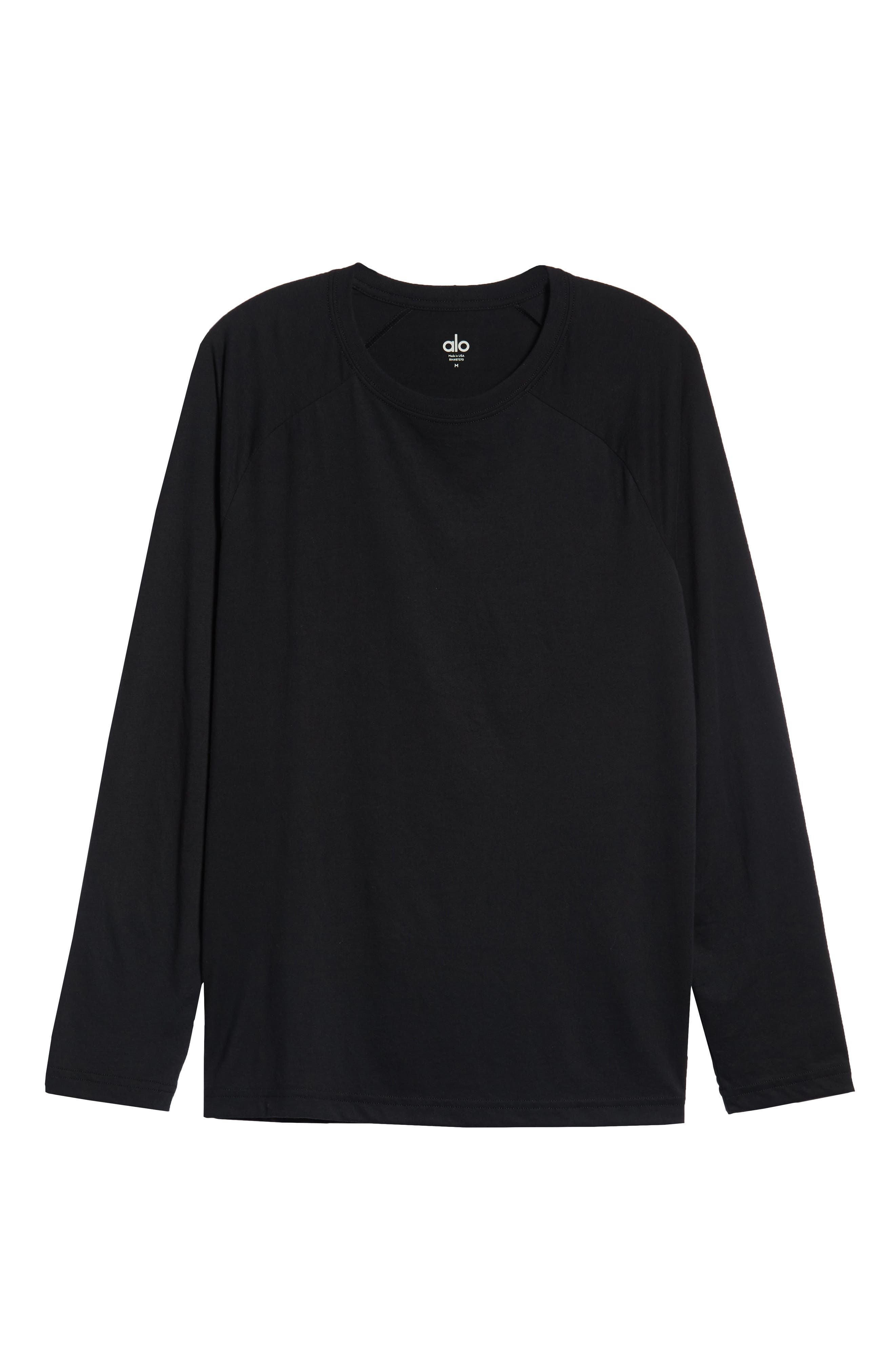 Triumph Raglan Long Sleeve T-Shirt,                             Alternate thumbnail 6, color,                             SOLID BLACK TRIBLEND