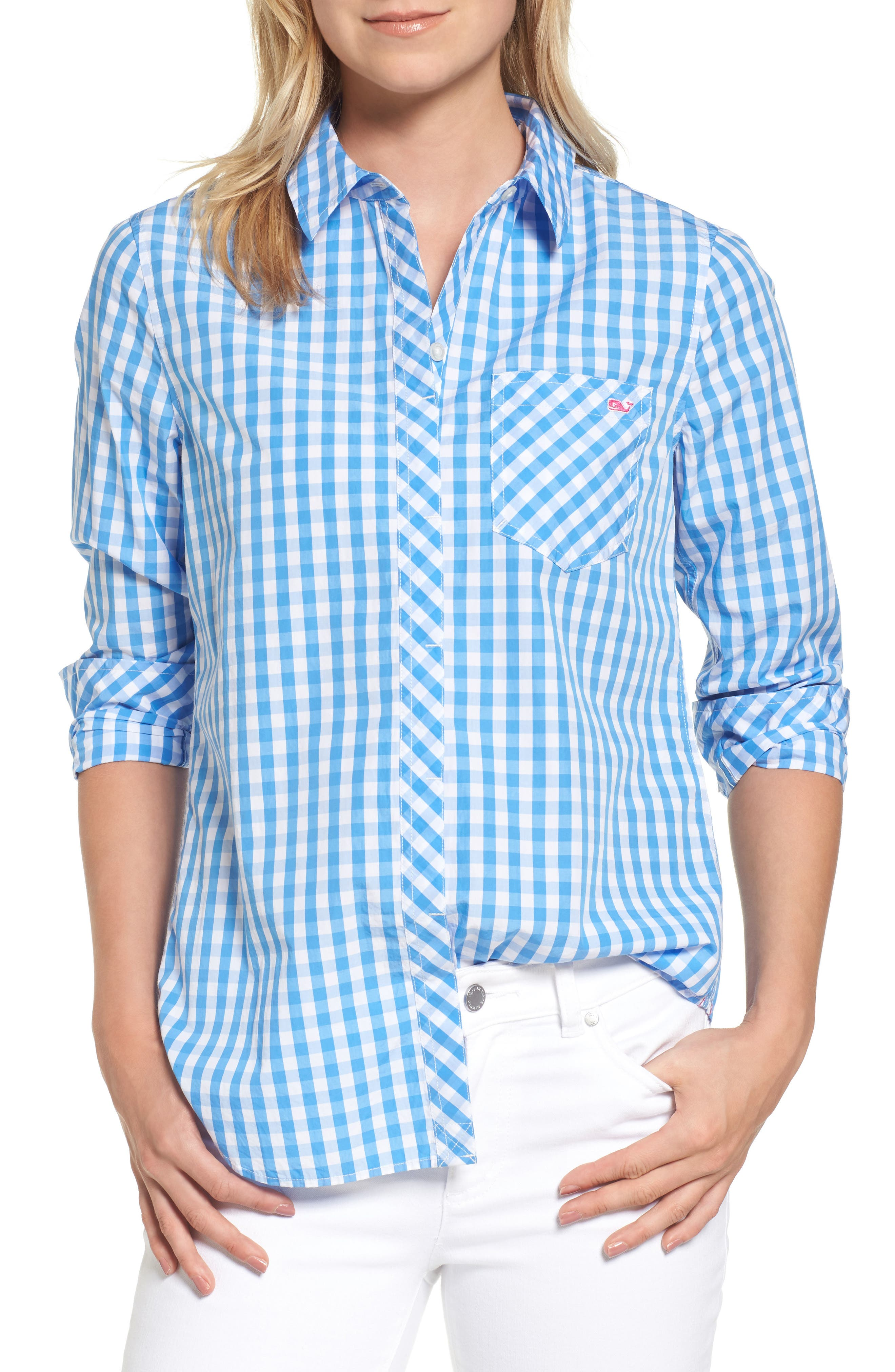 Seabreeze Gingham Pocket Shirt,                         Main,                         color, 464