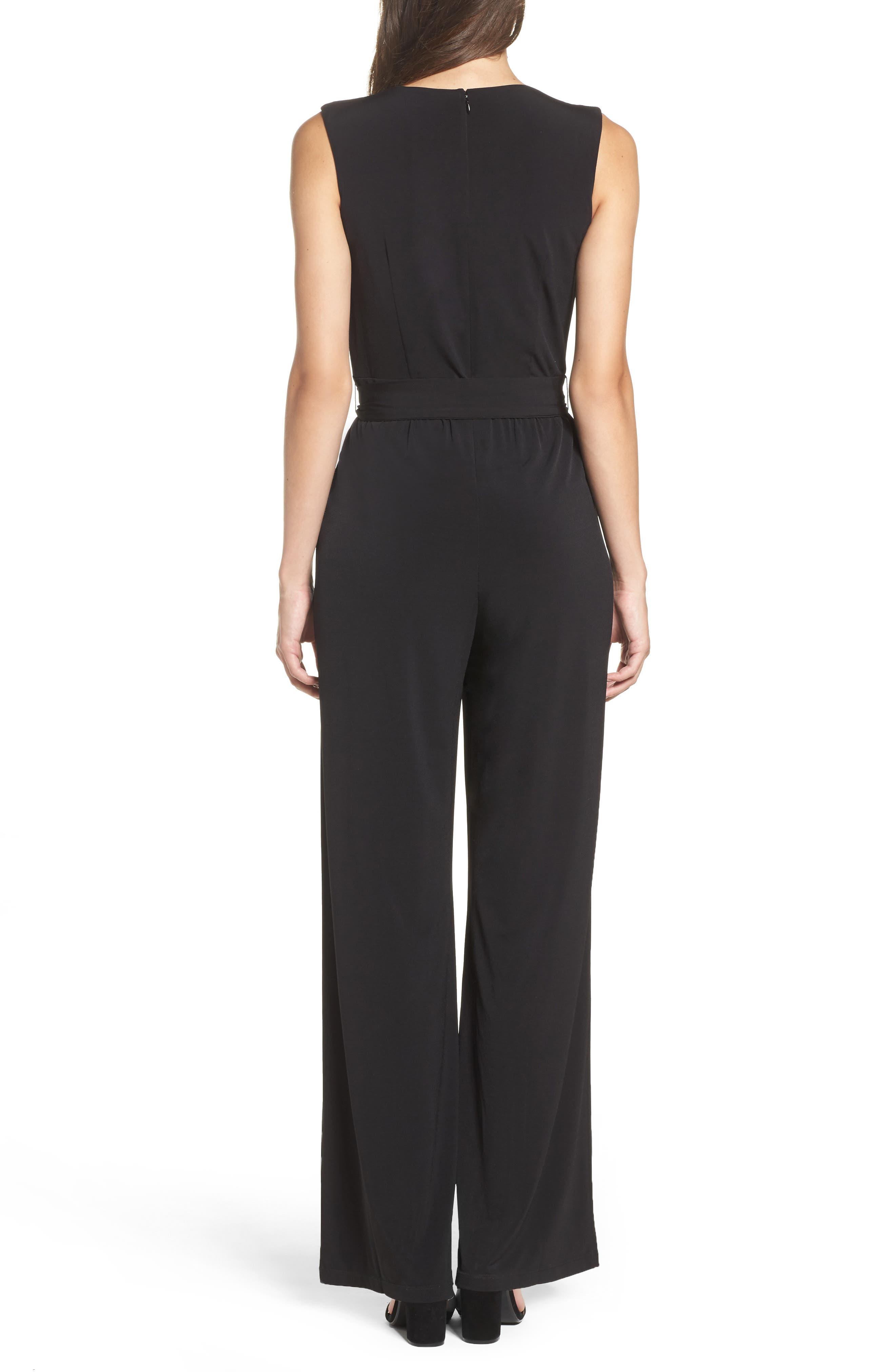 Faux Wrap Jersey Jumpsuit,                             Alternate thumbnail 2, color,                             BLACK