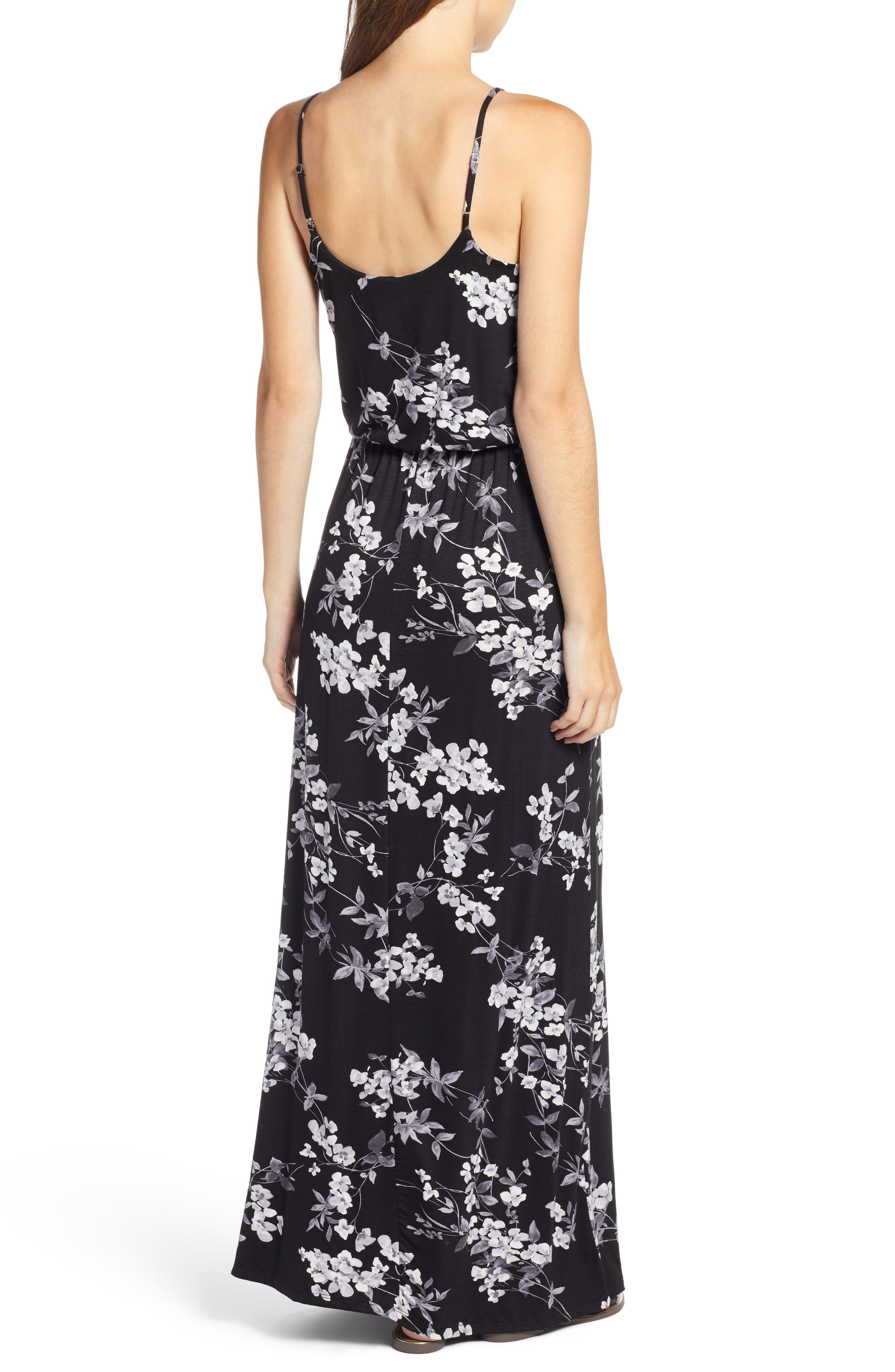 Knit Maxi Dress,                             Alternate thumbnail 2, color,                             BLACK/ CHARCOAL FLORAL