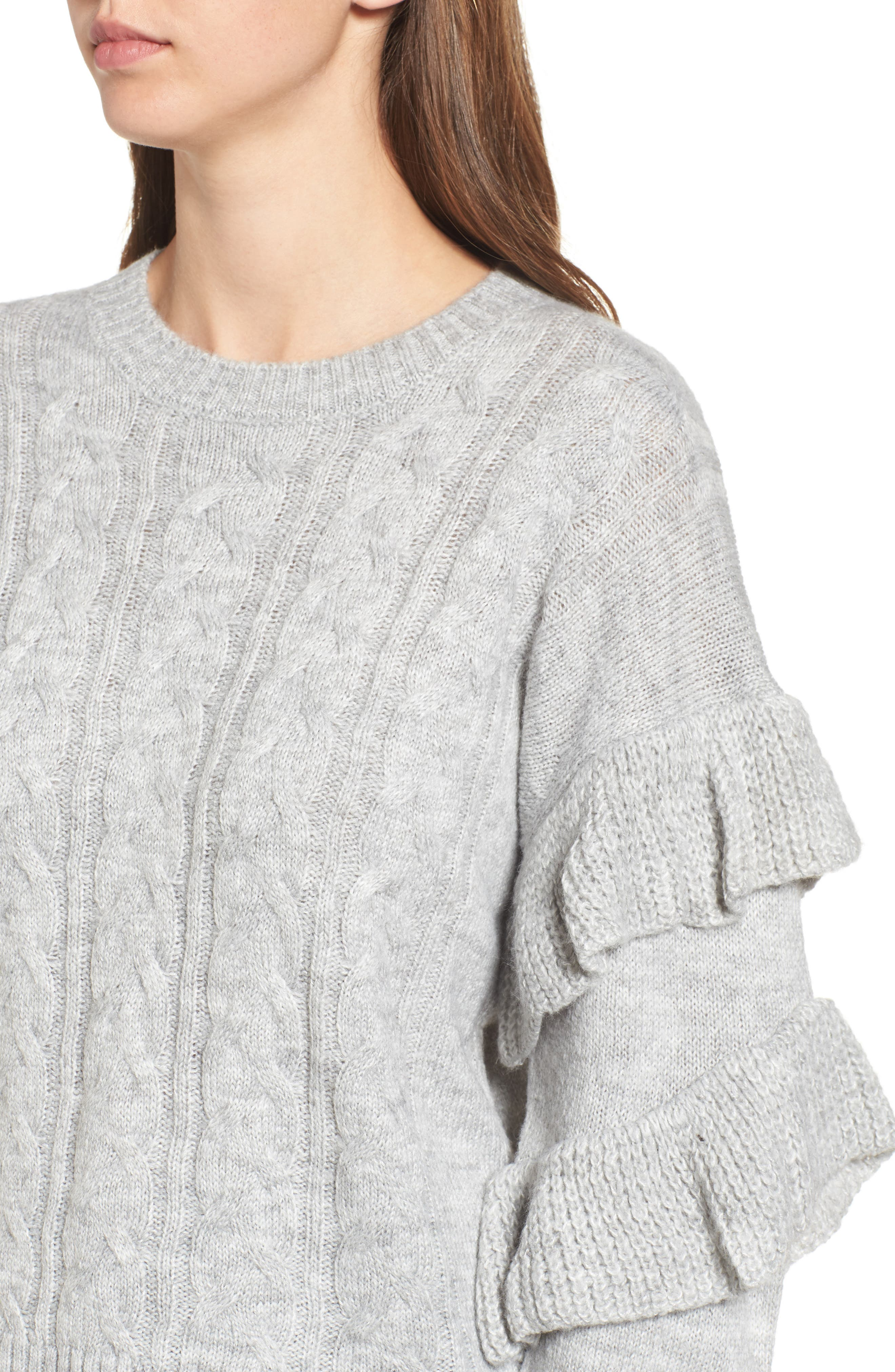 Sophie Ruffle Sleeve Sweater,                             Alternate thumbnail 4, color,