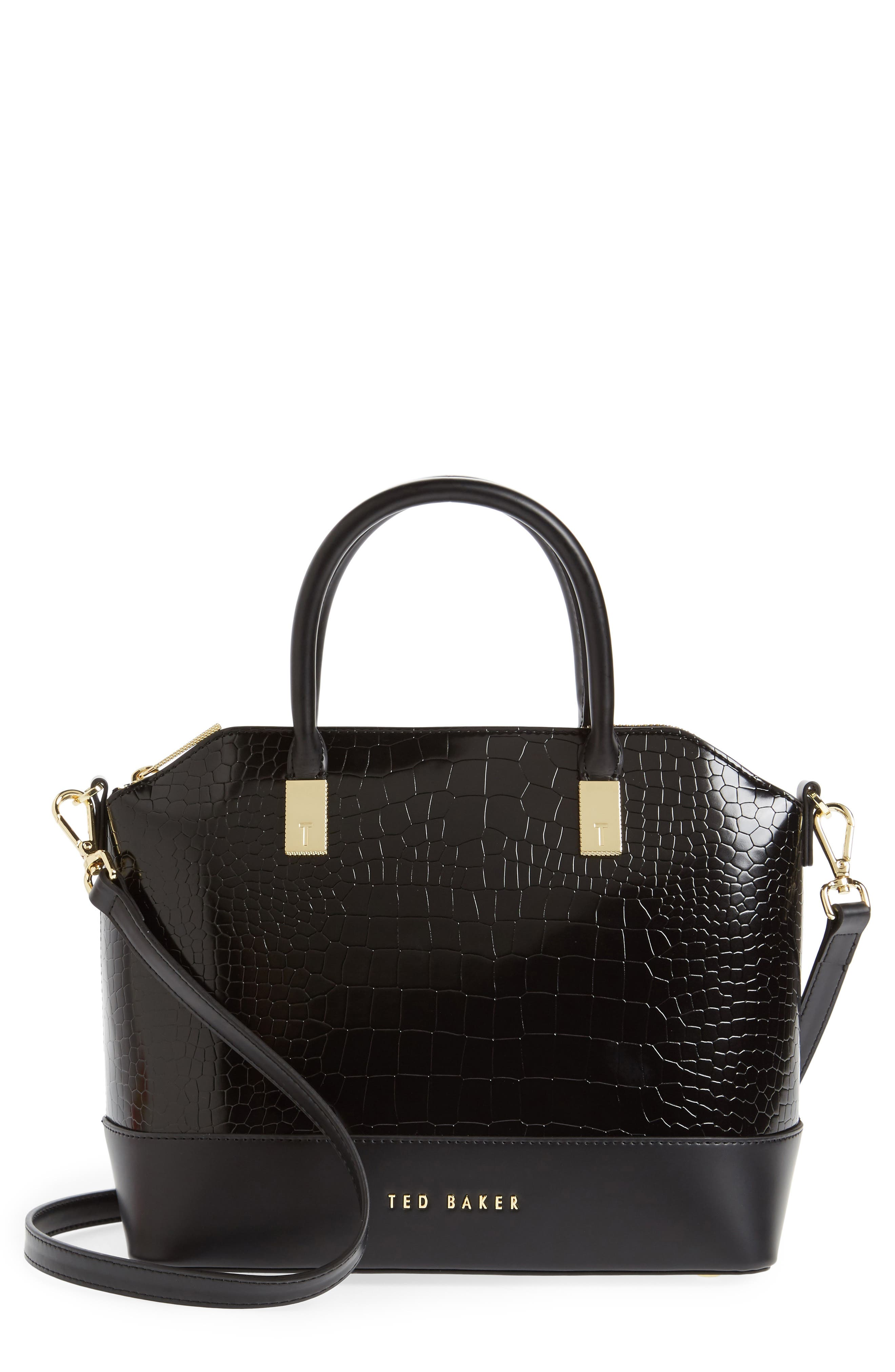 Camilee Croc Embossed Leather Top Handle Tote,                             Main thumbnail 1, color,
