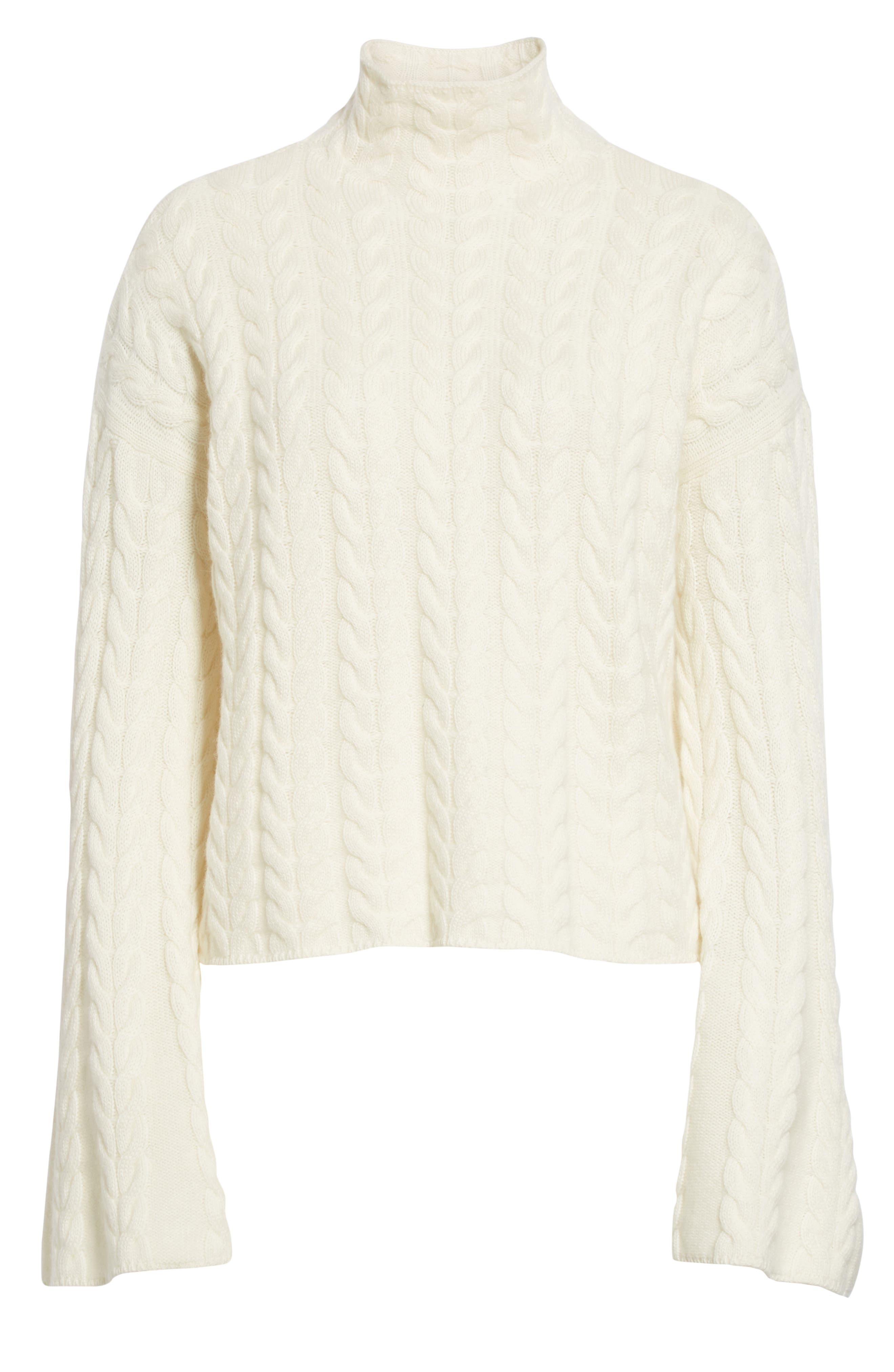 Cable Cashmere Sweater,                             Alternate thumbnail 6, color,                             IVORY/ IVORY