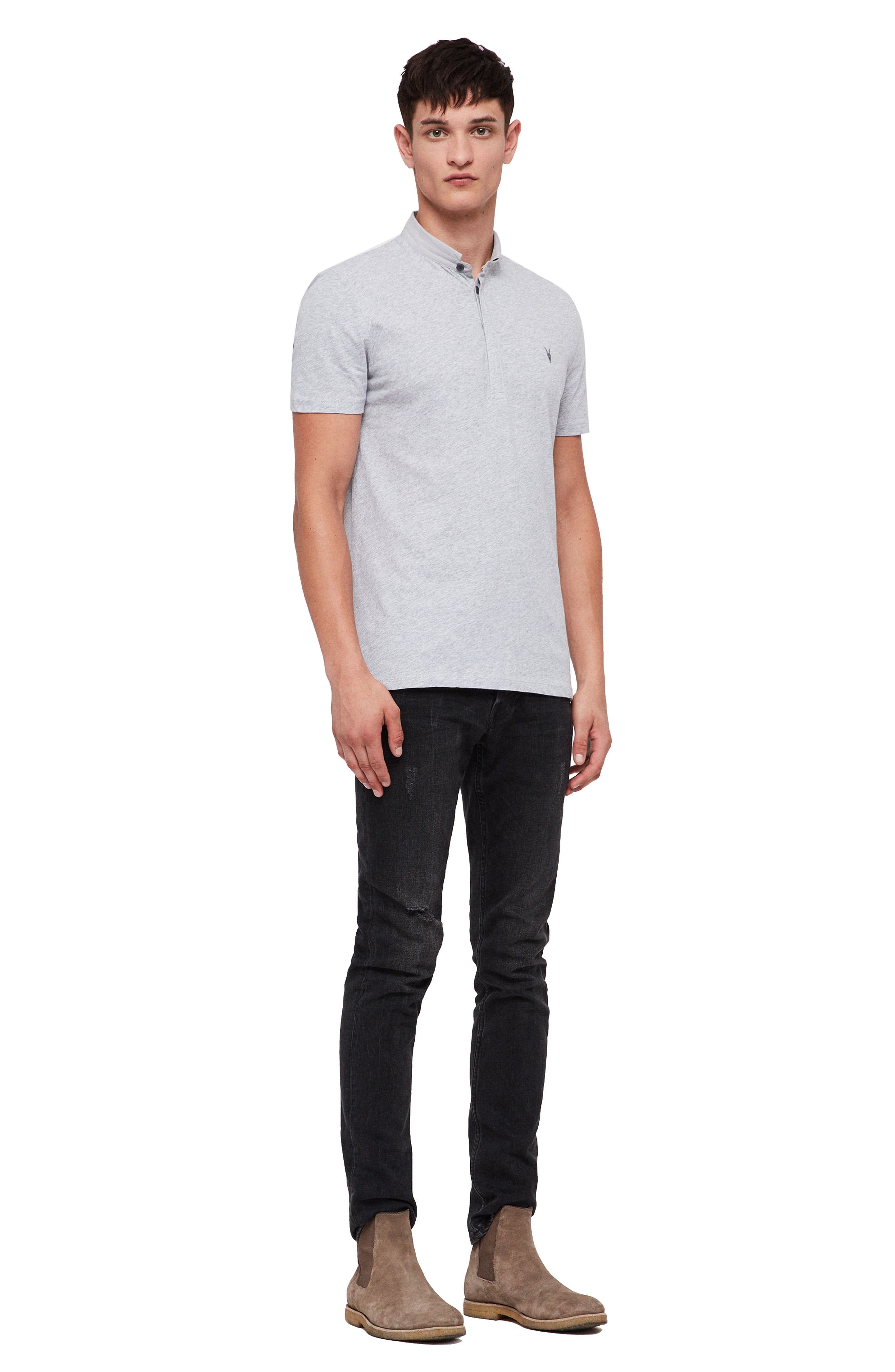 Grail Slim Fit Polo,                             Alternate thumbnail 4, color,                             GREY MARL