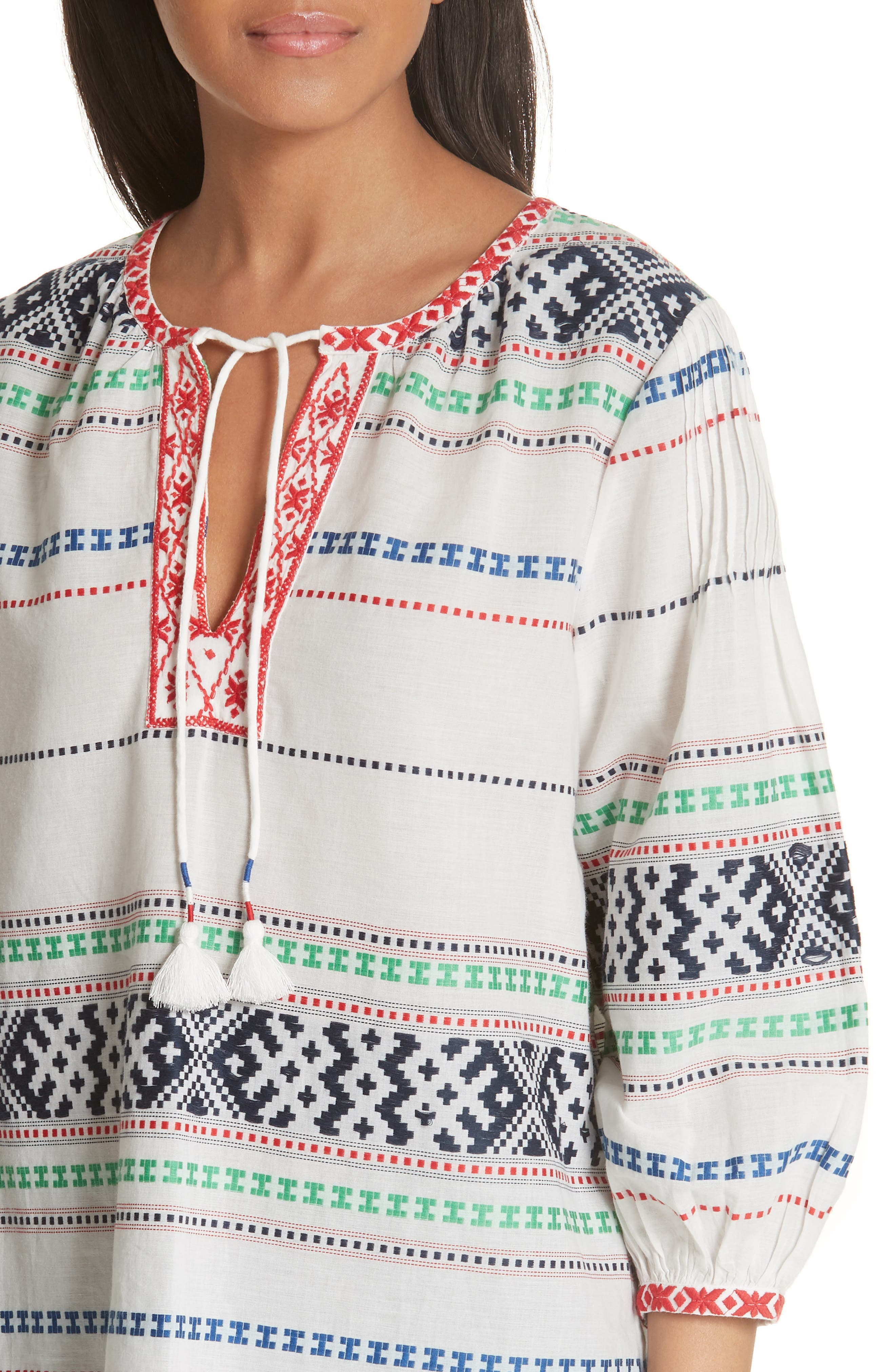 Jenollina Embroidered Top,                             Alternate thumbnail 4, color,                             PORCELAIN