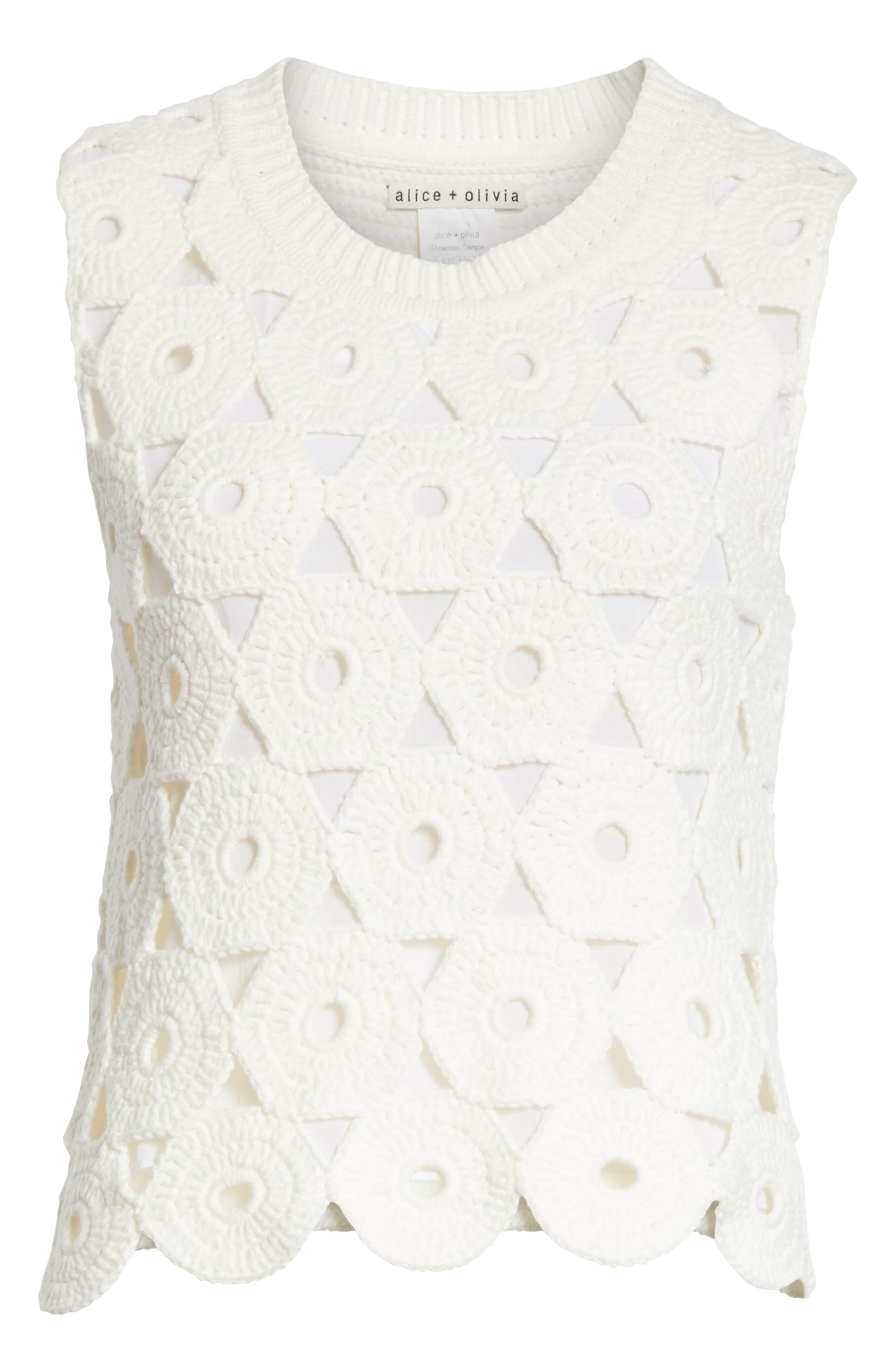 Reva Medallion Crochet Sweater,                             Alternate thumbnail 6, color,                             OPTIC WHITE