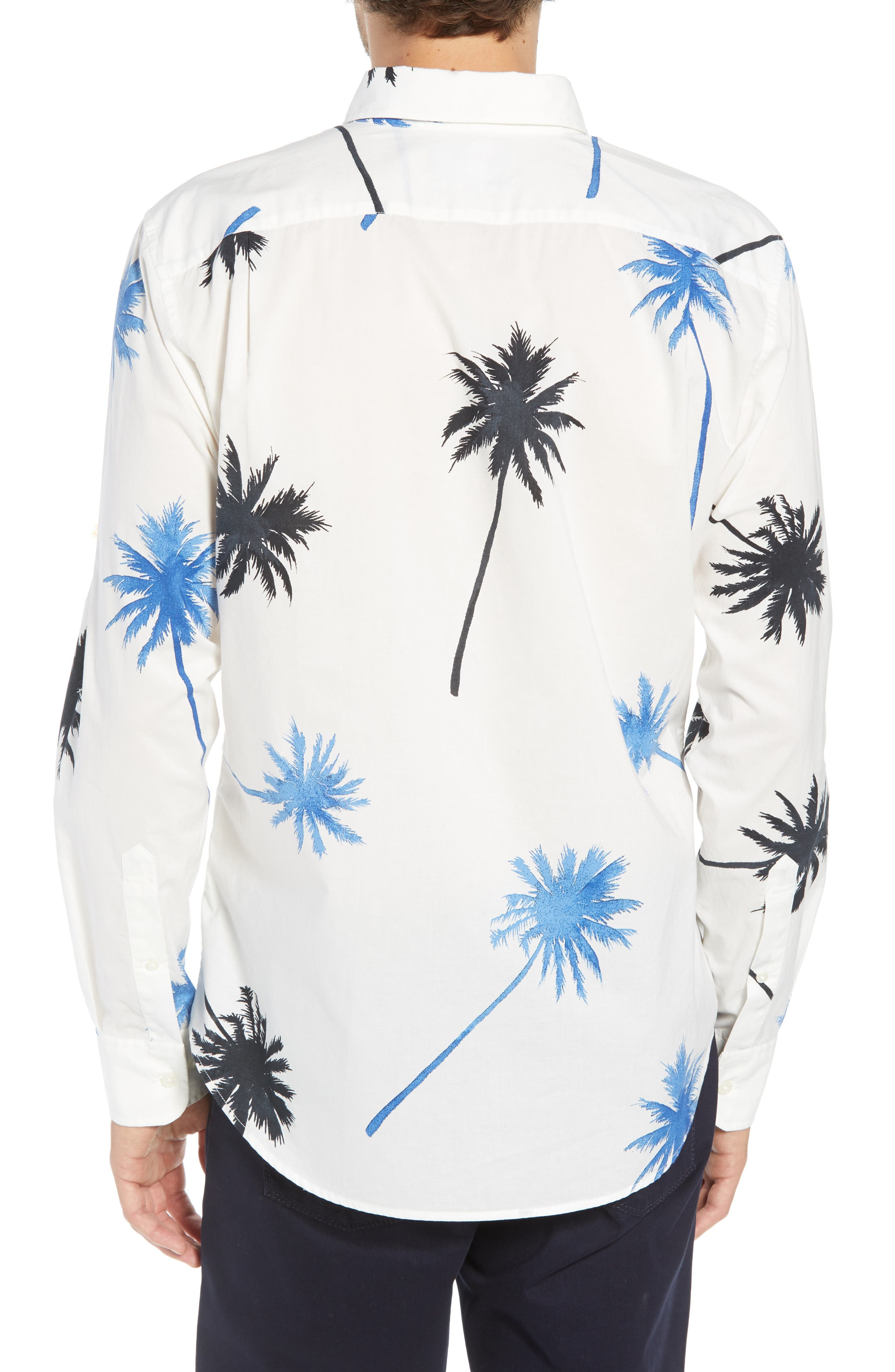 Summerweight Slim Fit Palm Print Sport Shirt,                             Alternate thumbnail 3, color,                             PALM TREE VIEW - GALAXY BLUE