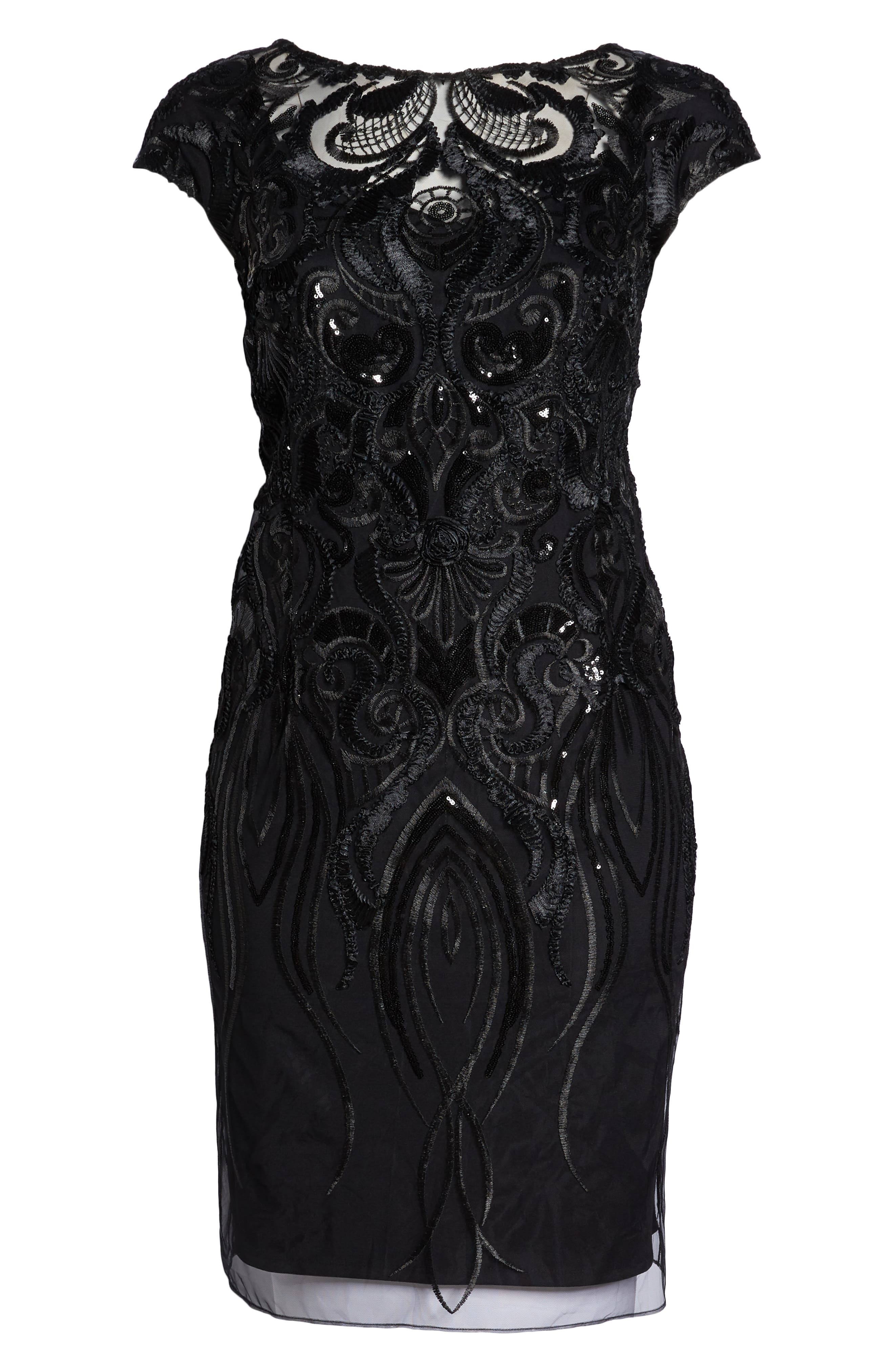 Sequin Embroidered Sheath Dress,                             Alternate thumbnail 7, color,                             001