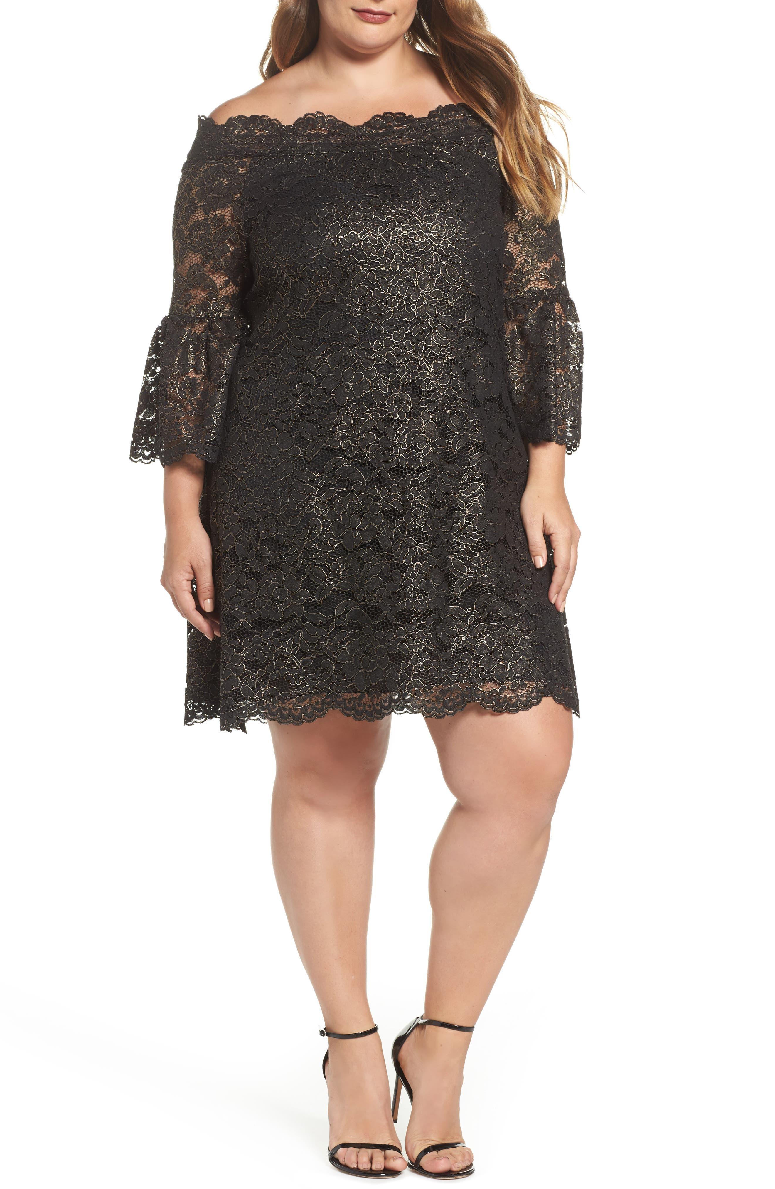 Off the Shoulder Black Gold Lace Dress,                             Main thumbnail 1, color,                             005