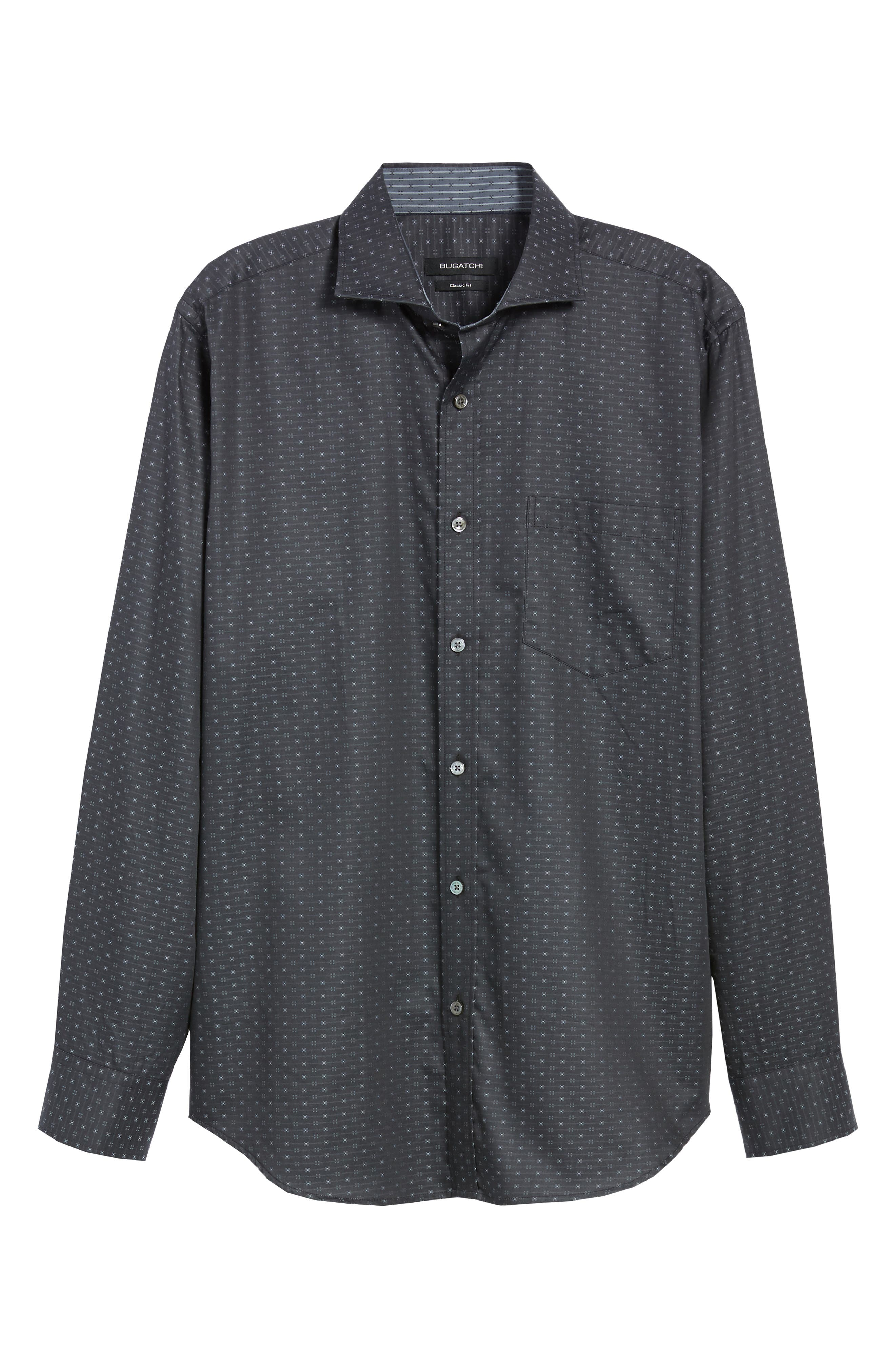 Classic Fit Print Sport Shirt,                             Alternate thumbnail 5, color,                             CHARCOAL