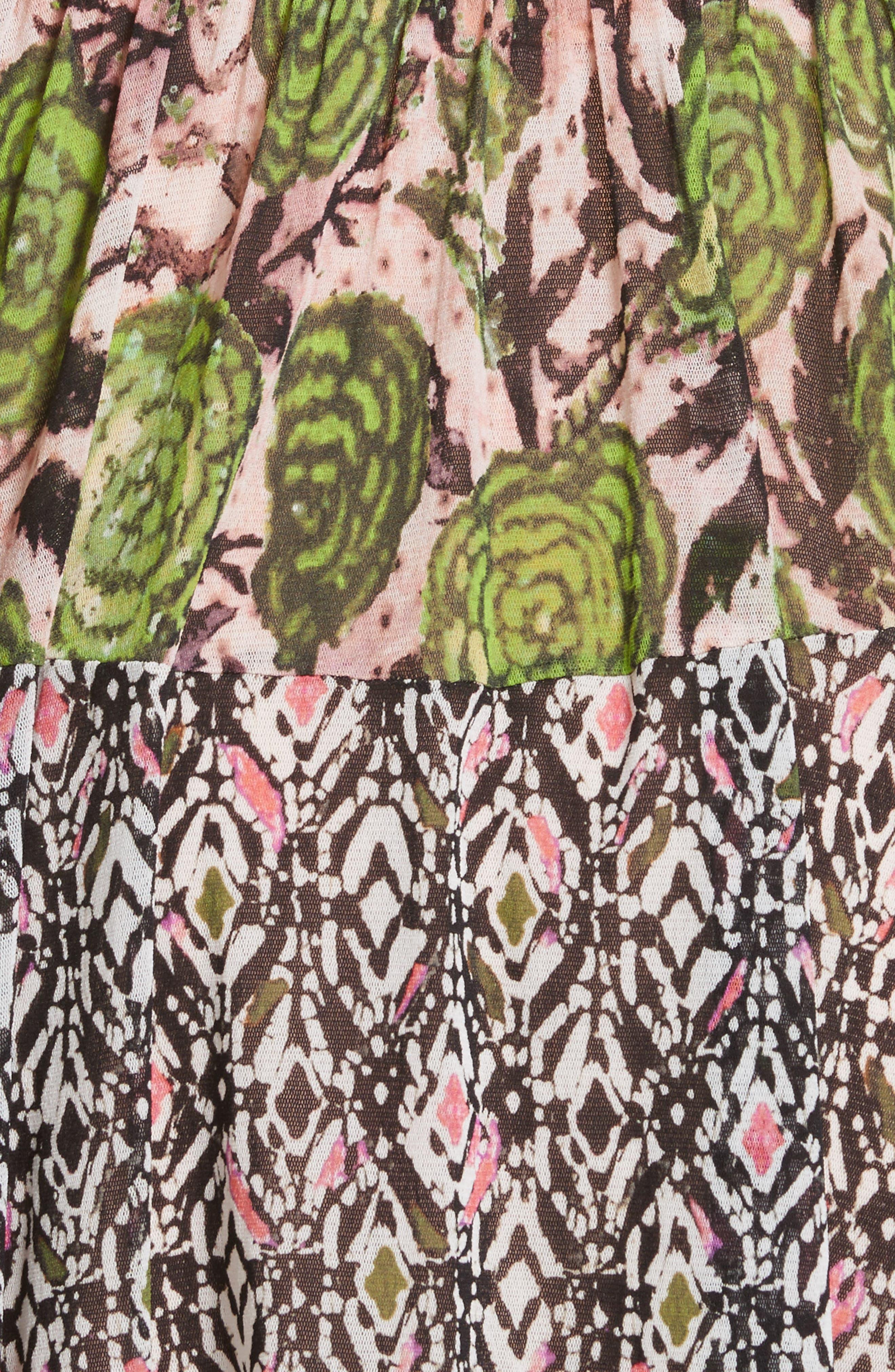 Patchwork Print Tulle Dress,                             Alternate thumbnail 5, color,                             300