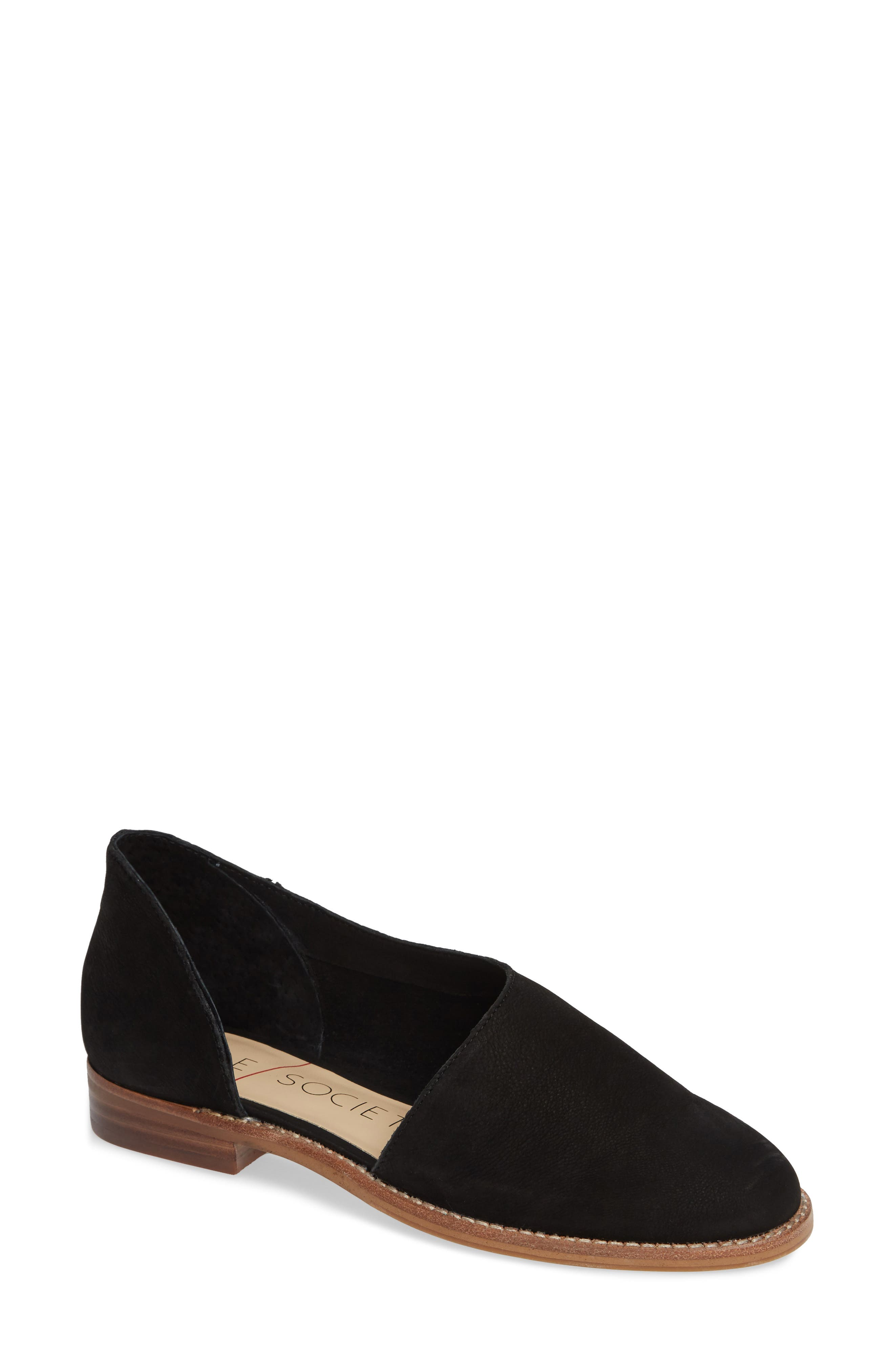 Betianne Flat,                             Main thumbnail 1, color,                             BLACK NUBUCK