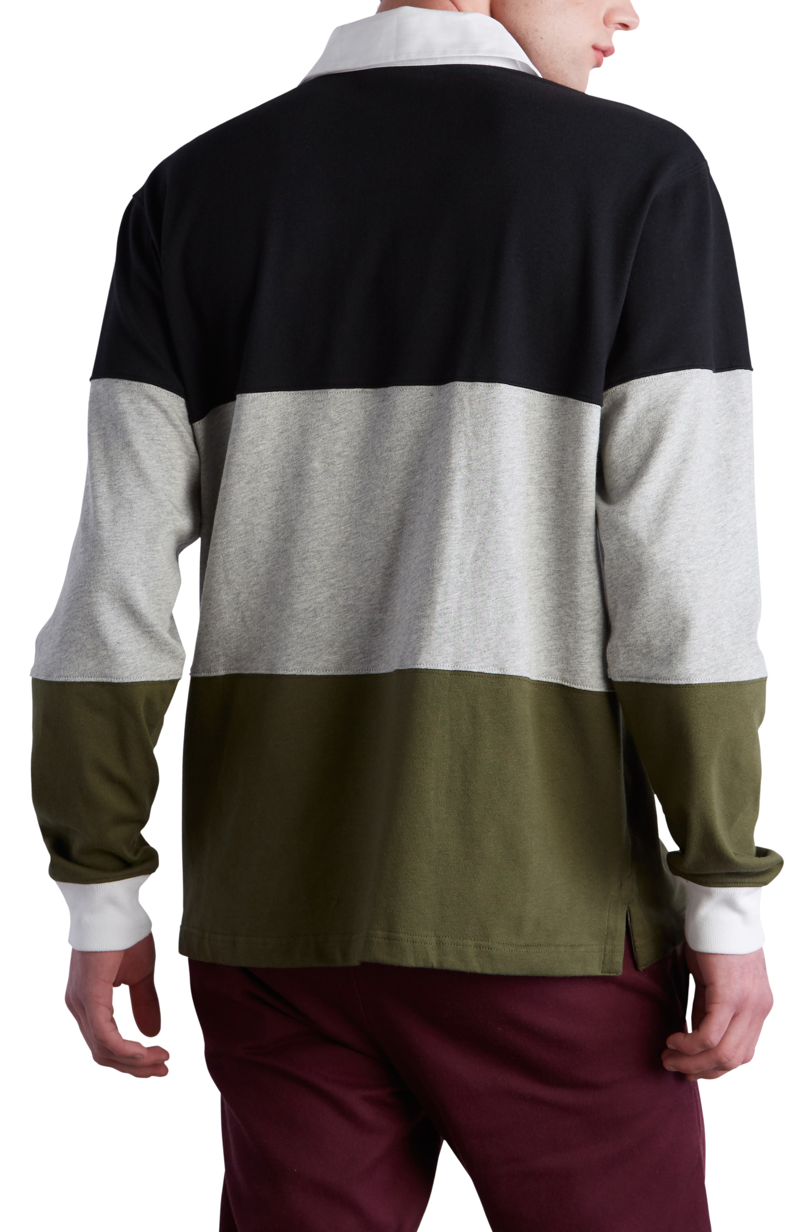 Colorblock Rugby Shirt,                             Alternate thumbnail 2, color,                             BLACK/ GREY/ HIKER GREEN