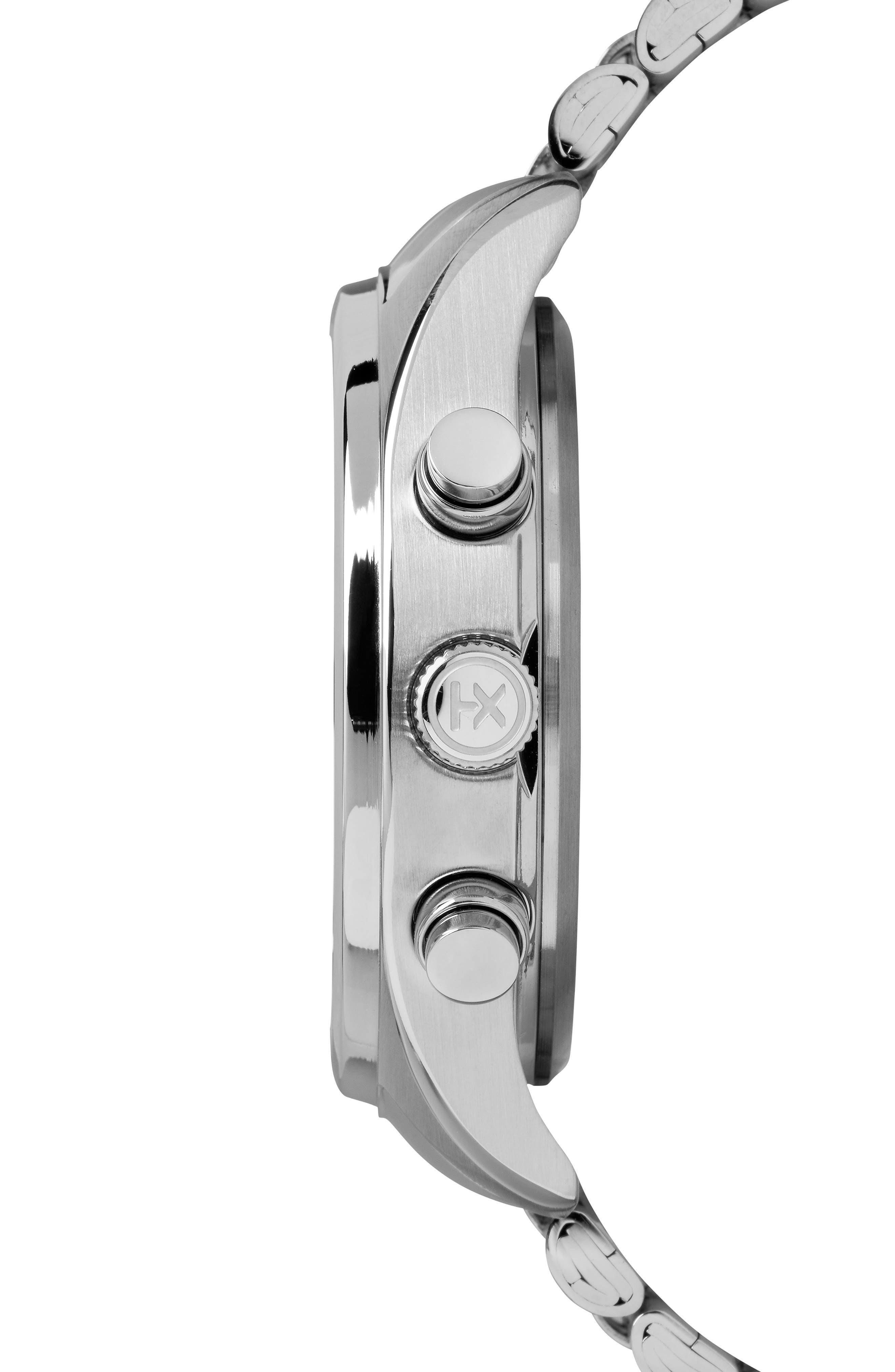 Waterbury Chronograph Bracelet Watch, 42mm,                             Alternate thumbnail 3, color,                             SILVER/ WHITE/ SILVER