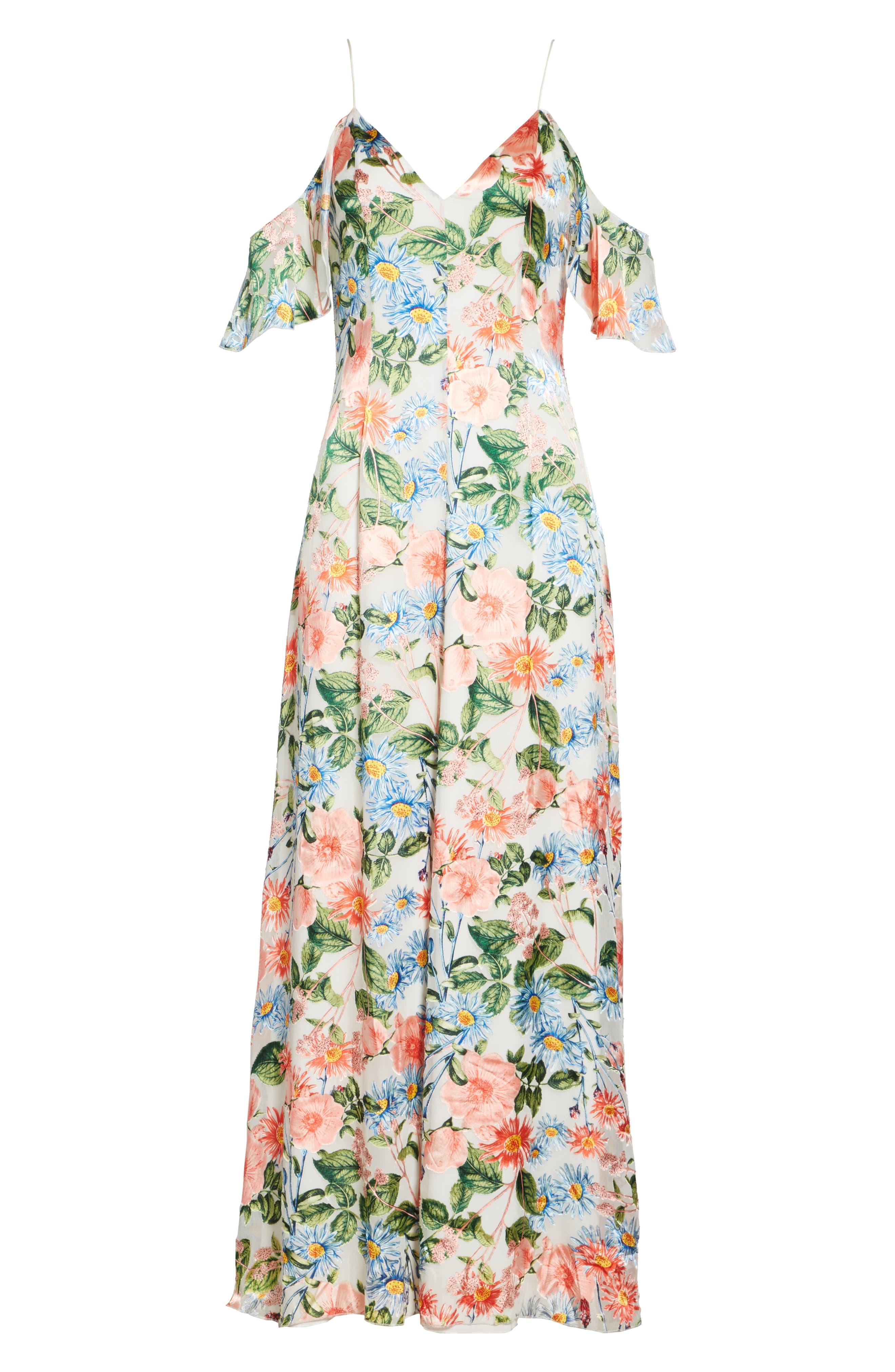 Alves Floral Cold Shoulder Maxi Dress,                             Alternate thumbnail 6, color,                             650