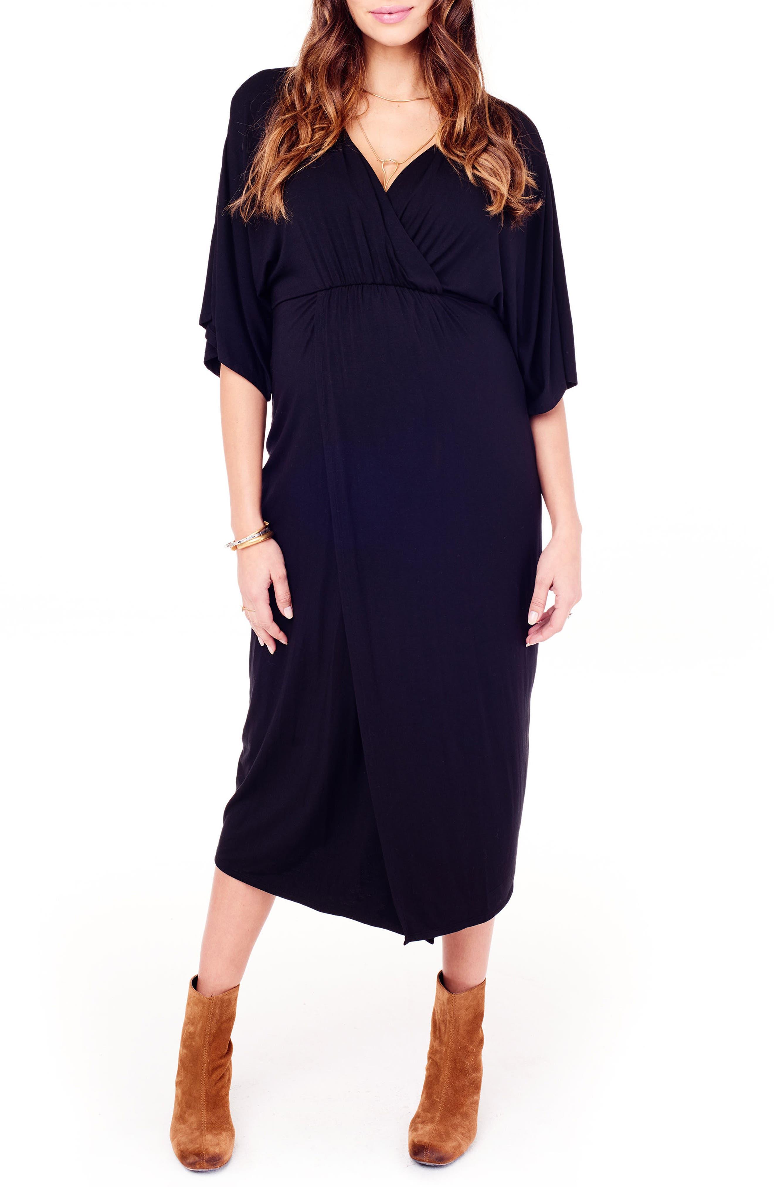 Dolman Sleeve Maternity Dress,                         Main,                         color, JET BLACK
