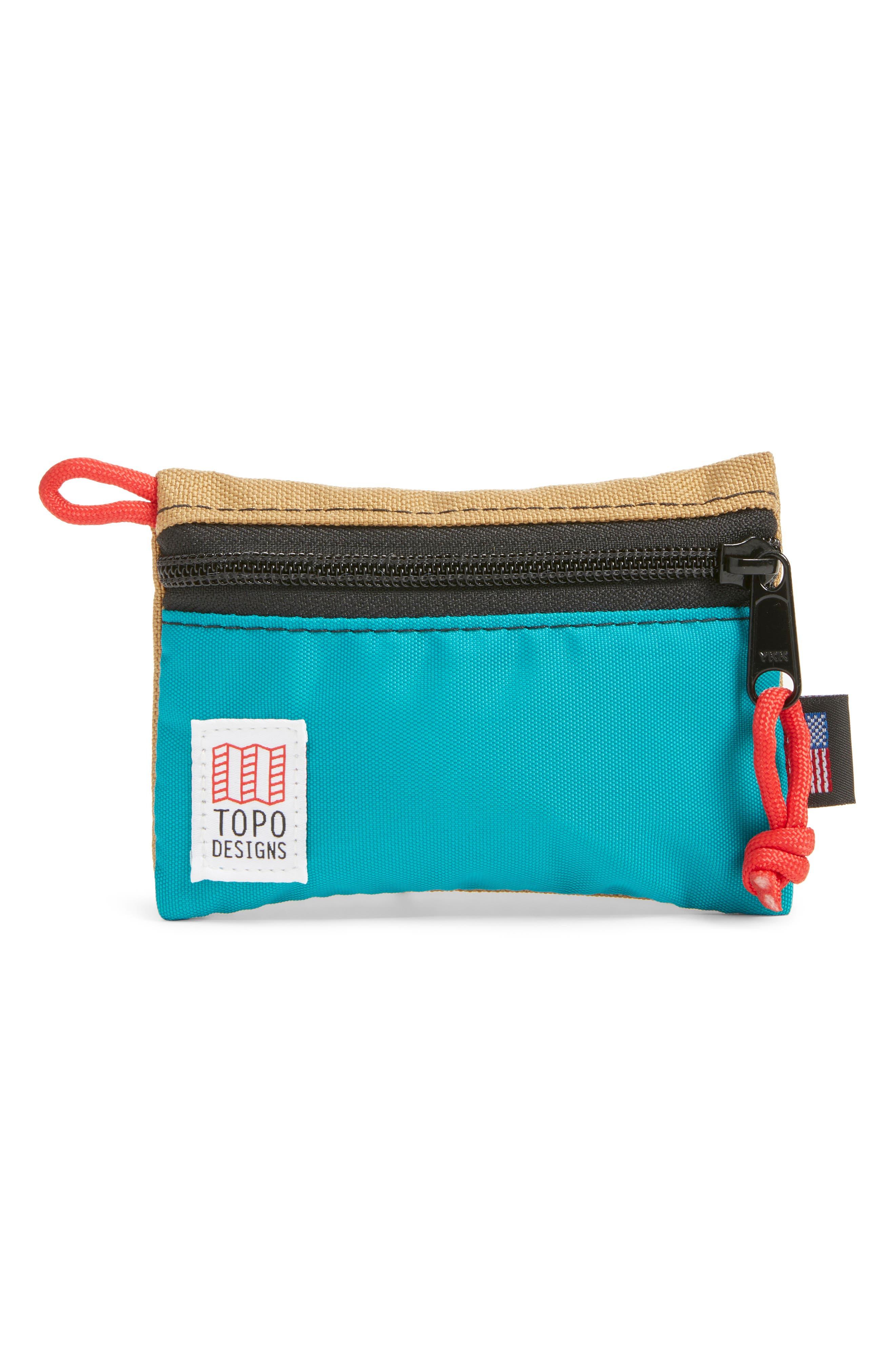 Accessory Bag,                             Main thumbnail 1, color,                             KHAKI/ TURQUOISE