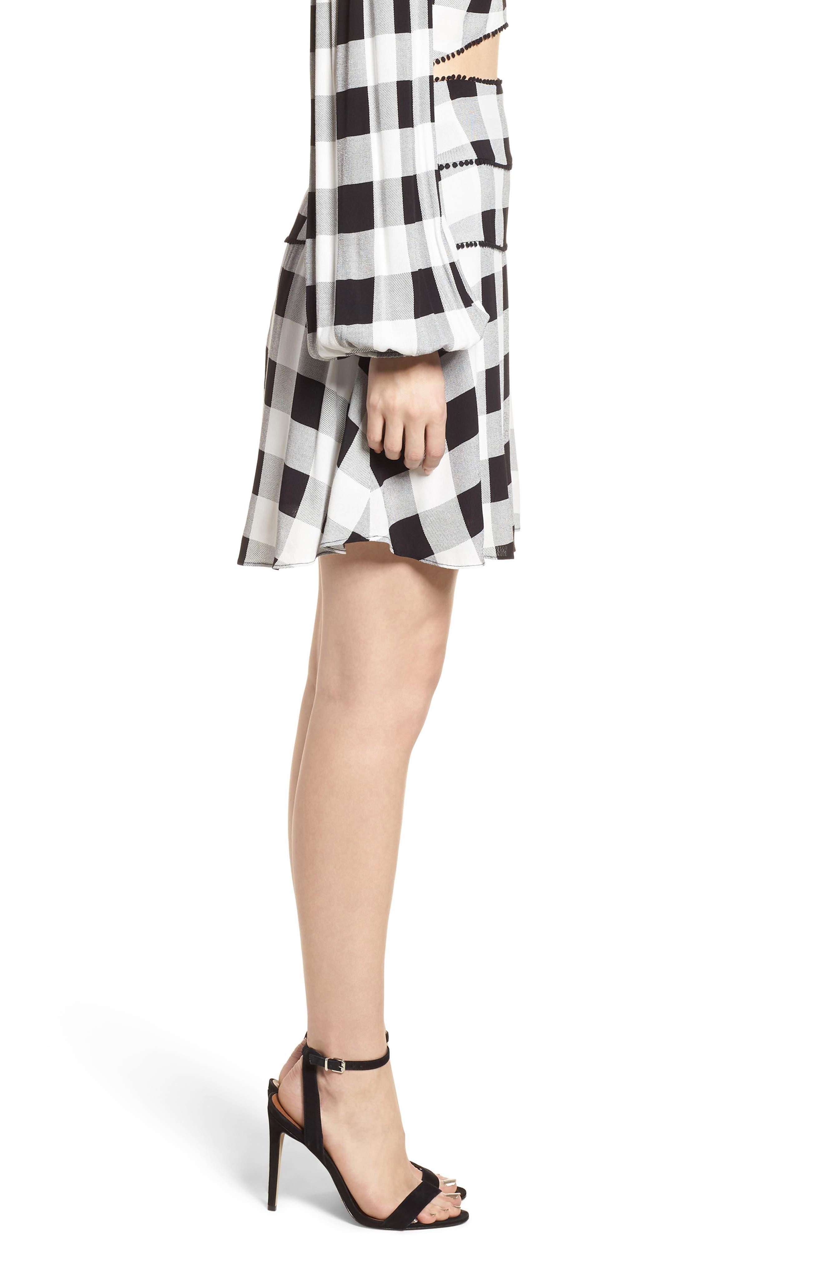 Bell High Waist Miniskirt,                             Alternate thumbnail 3, color,                             002