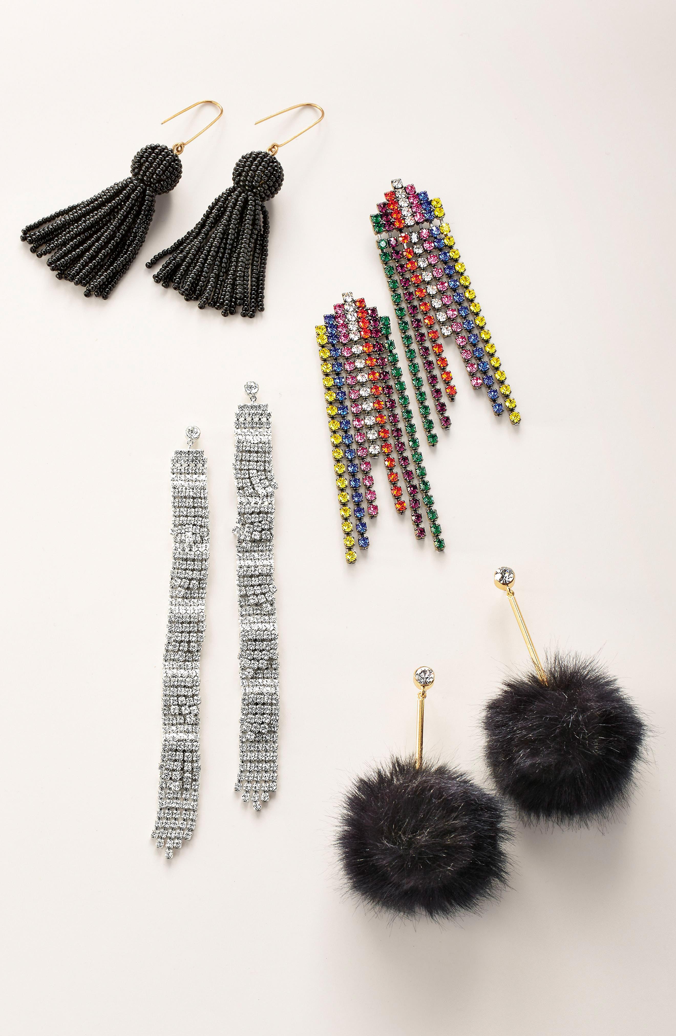 Crystal Fringe Shoulder Duster Earrings,                         Main,                         color, 001