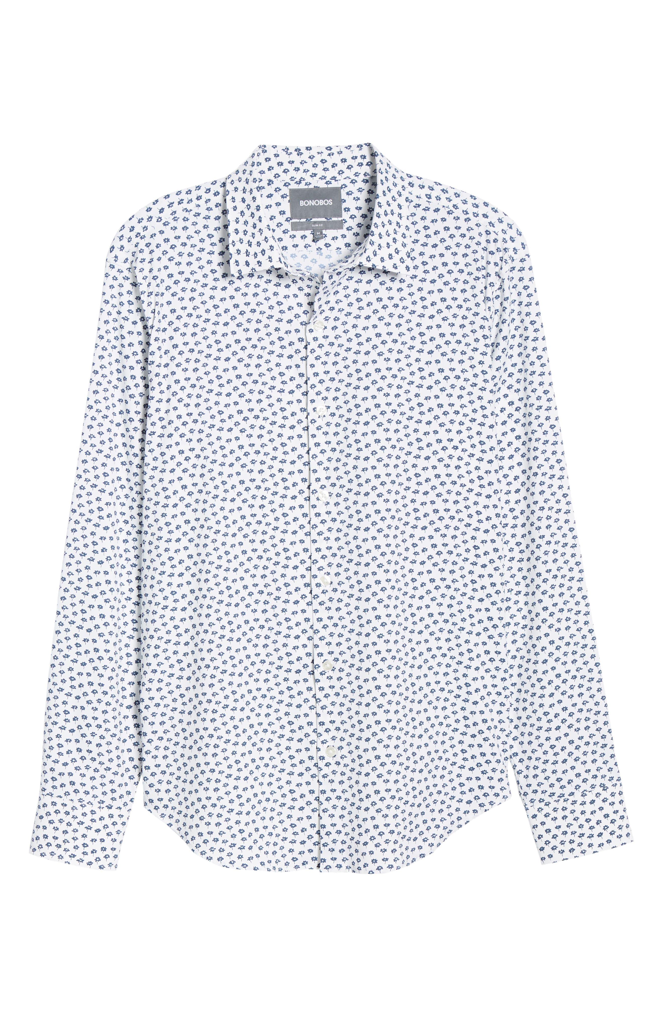 Slim Fit Floral Tech Sport Shirt,                             Alternate thumbnail 5, color,                             FLORAL STAMP - PEACOCK