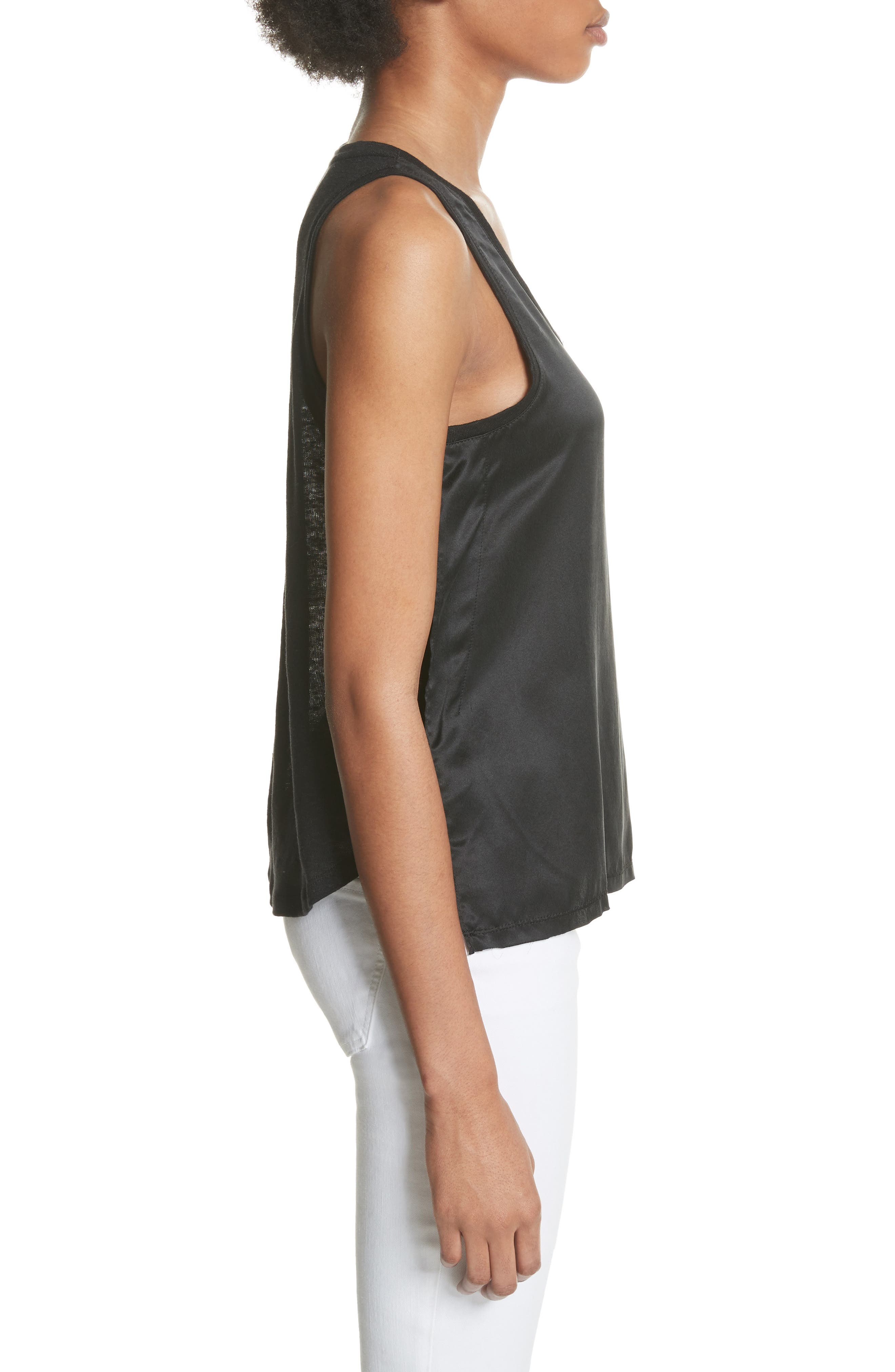 Silk & Linen Tank,                             Alternate thumbnail 3, color,                             001