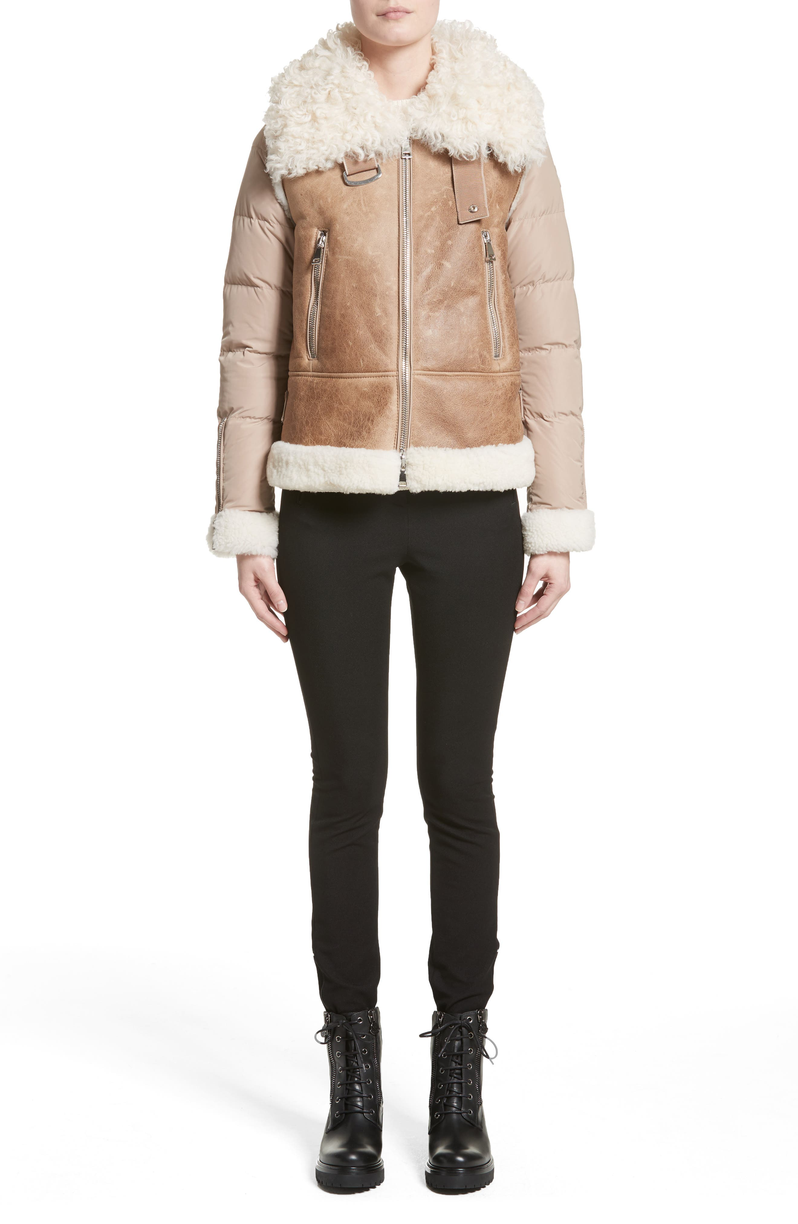 Kilia Genuine Shearling & Down Puffer Jacket,                             Alternate thumbnail 7, color,                             CAMEL