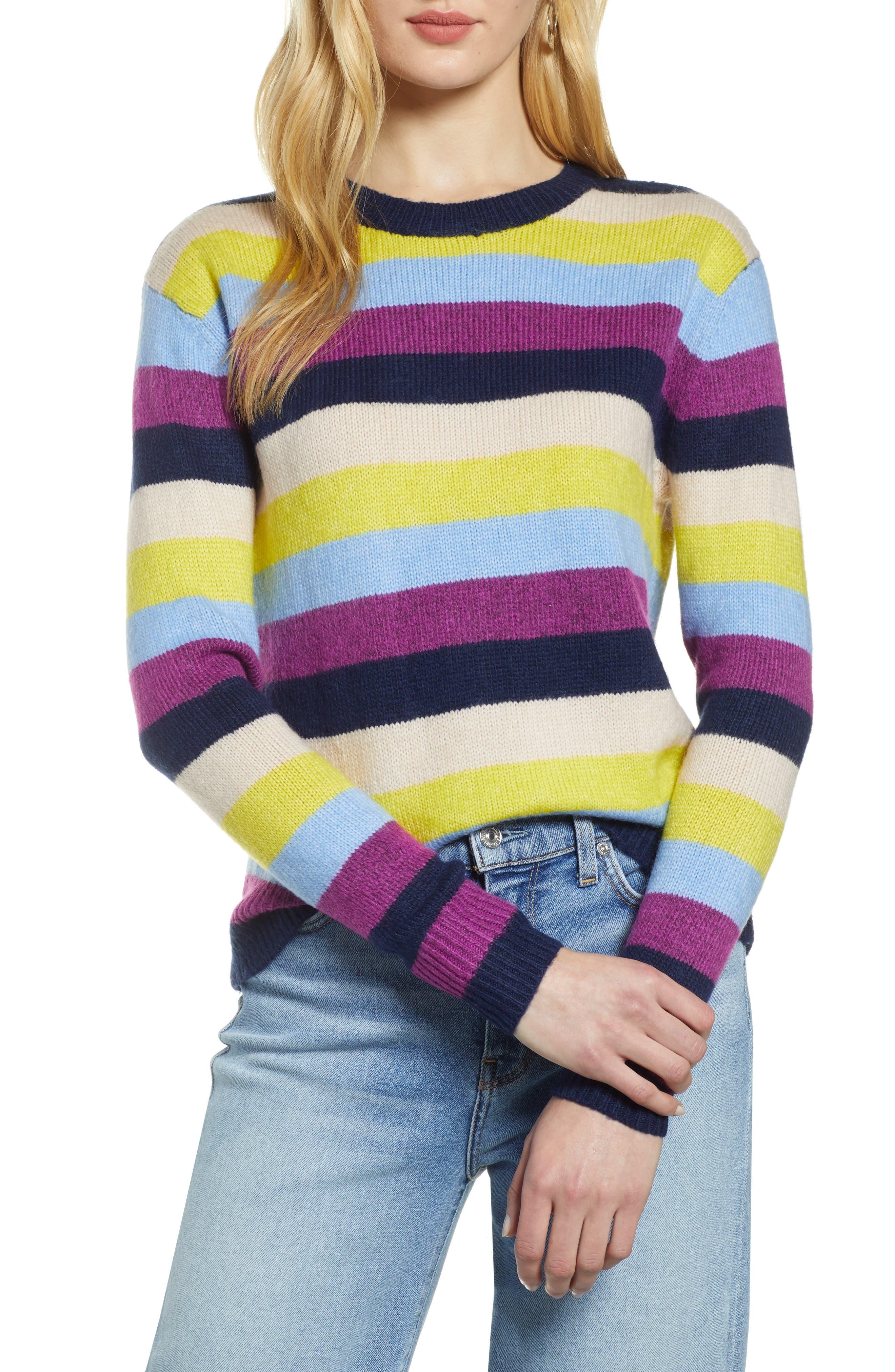 Bow Back Sweater,                             Main thumbnail 1, color,                             NAVY MULTI STRIPE