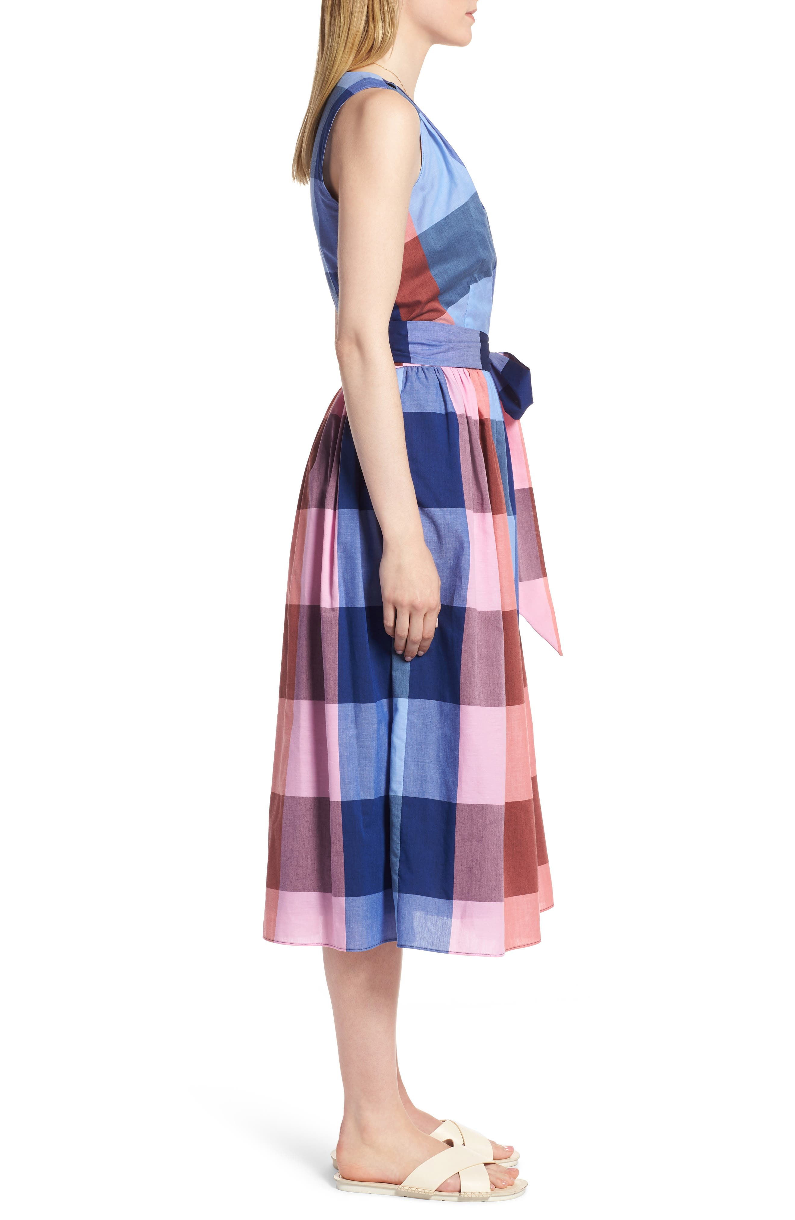 Plaid Cotton Wrap Style Dress,                             Alternate thumbnail 3, color,                             958