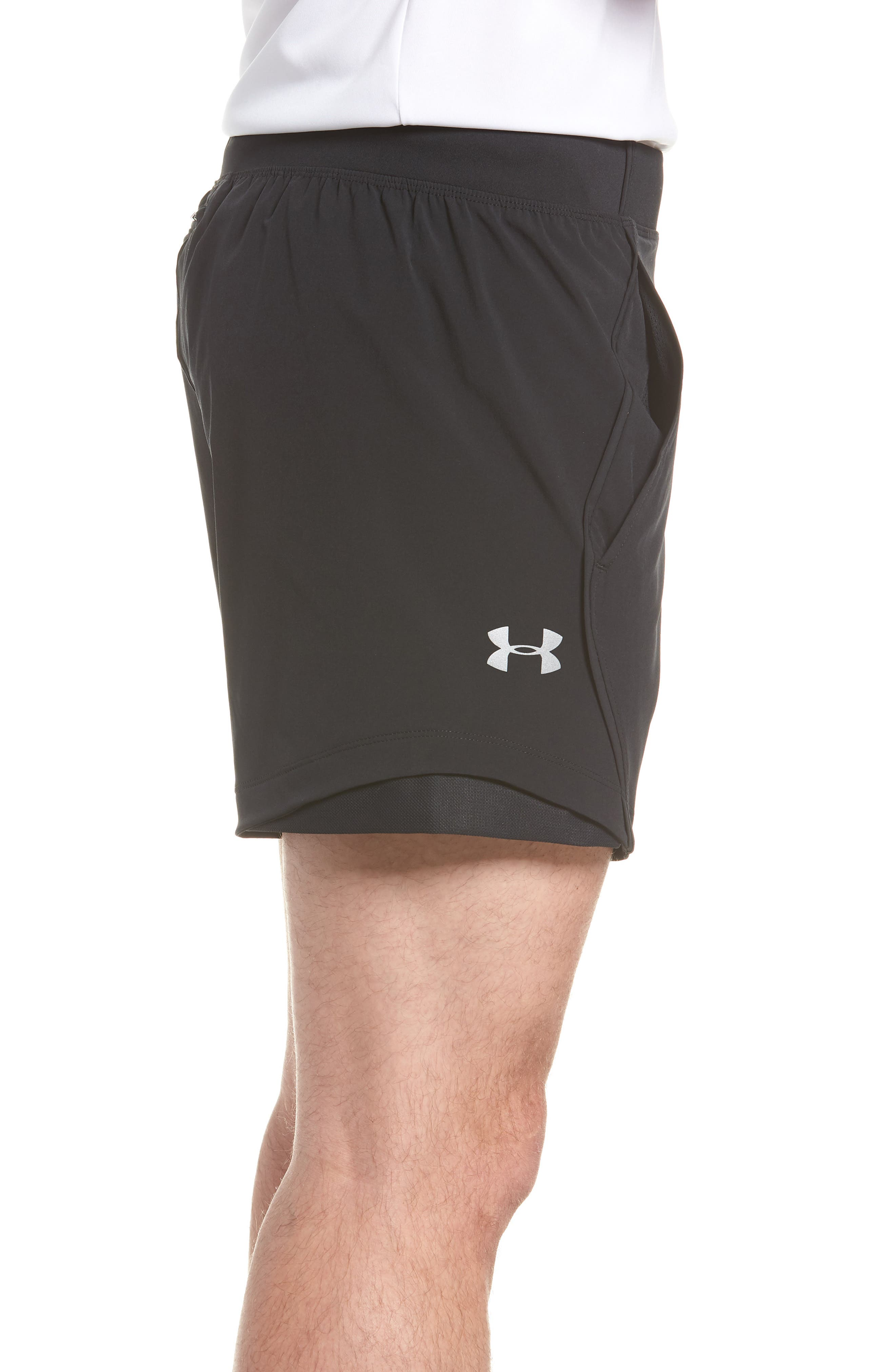Under Armor Speedpocket Shorts,                             Alternate thumbnail 3, color,                             BLACK/ BLACK/ REFLECTIVE