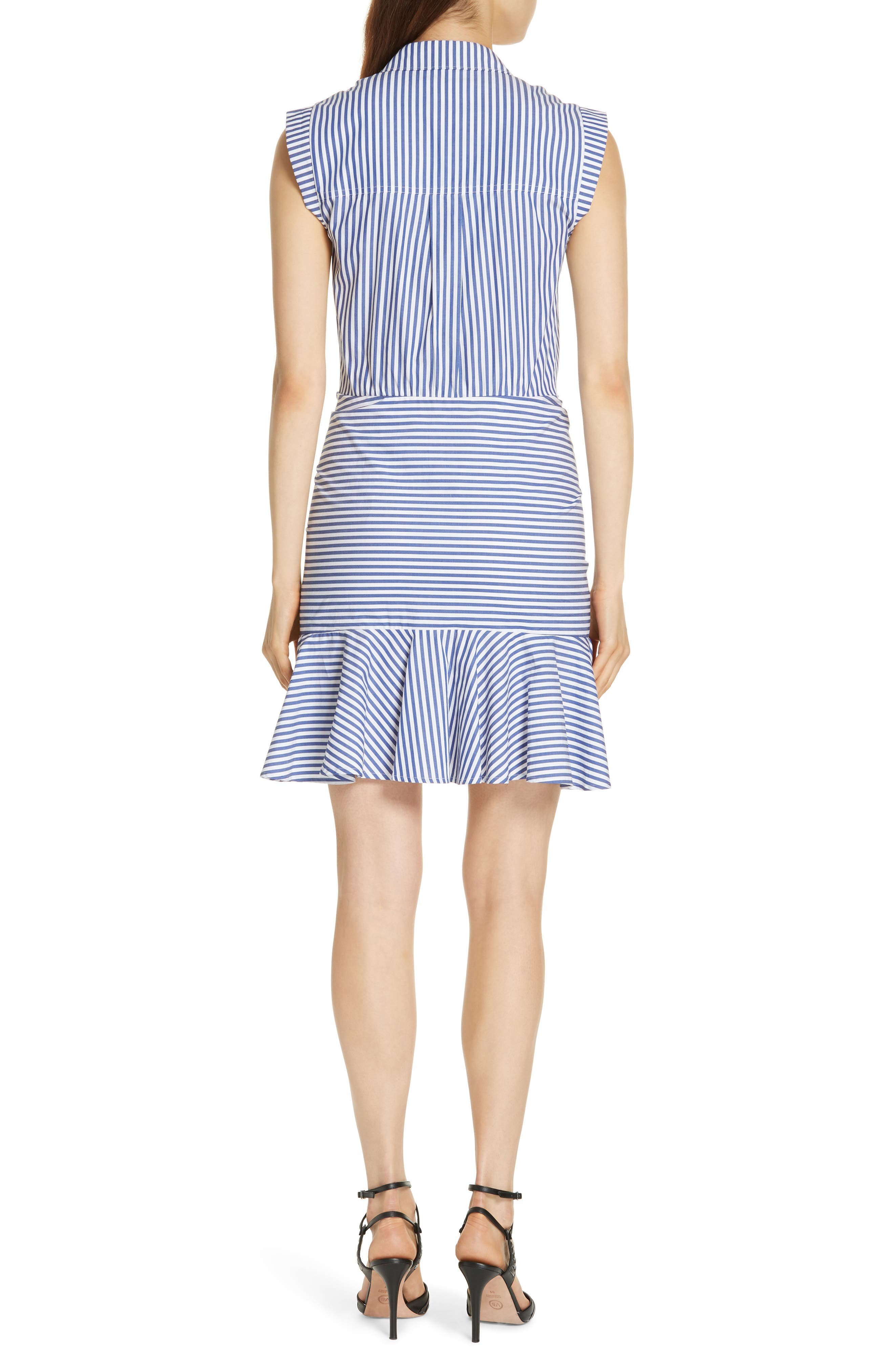 Bell Stripe Ruched Shirtdress,                             Alternate thumbnail 3, color,                             400