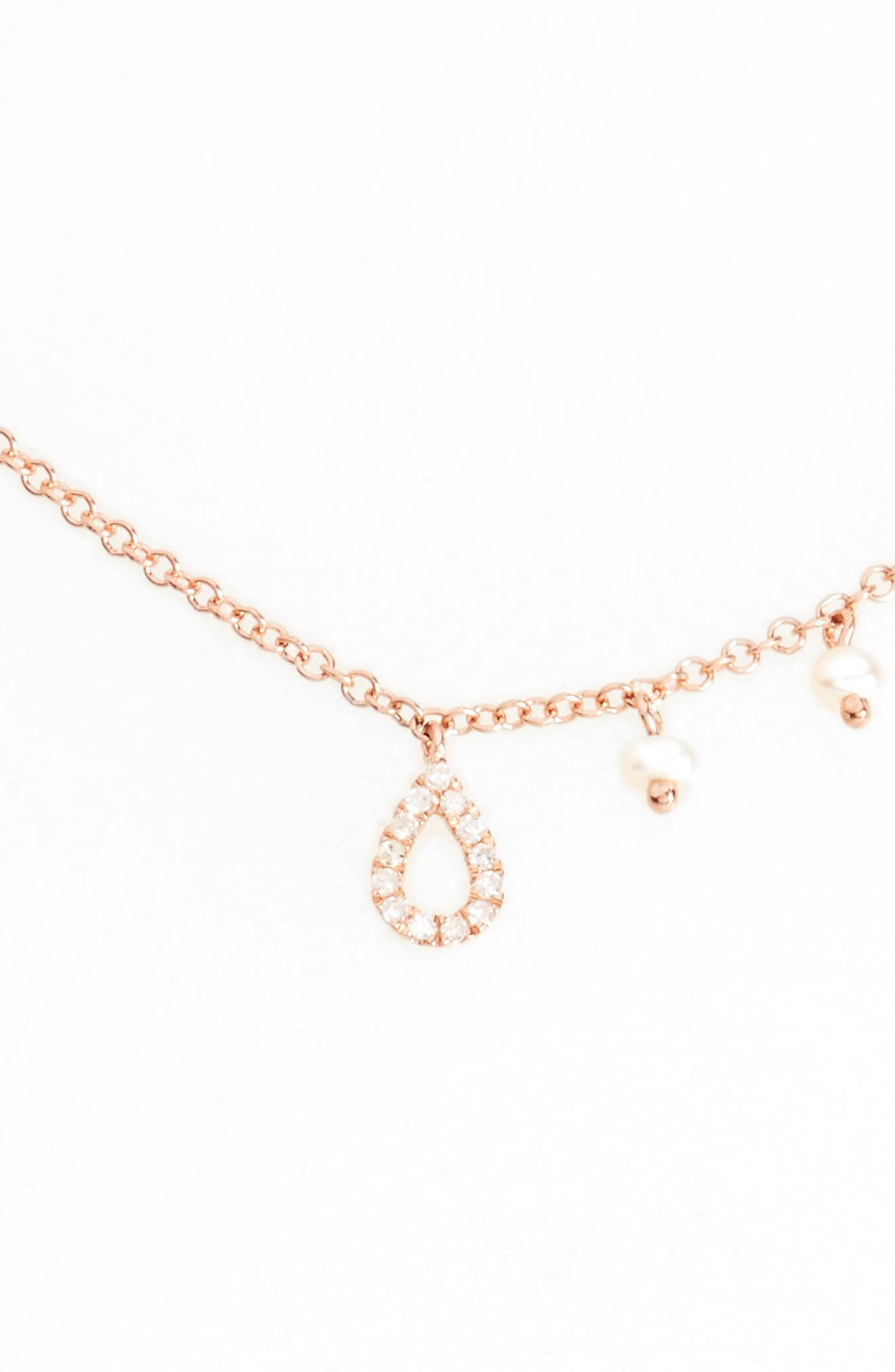 Diamond Teardrop Charm Collar Necklace,                             Main thumbnail 1, color,                             ROSE GOLD