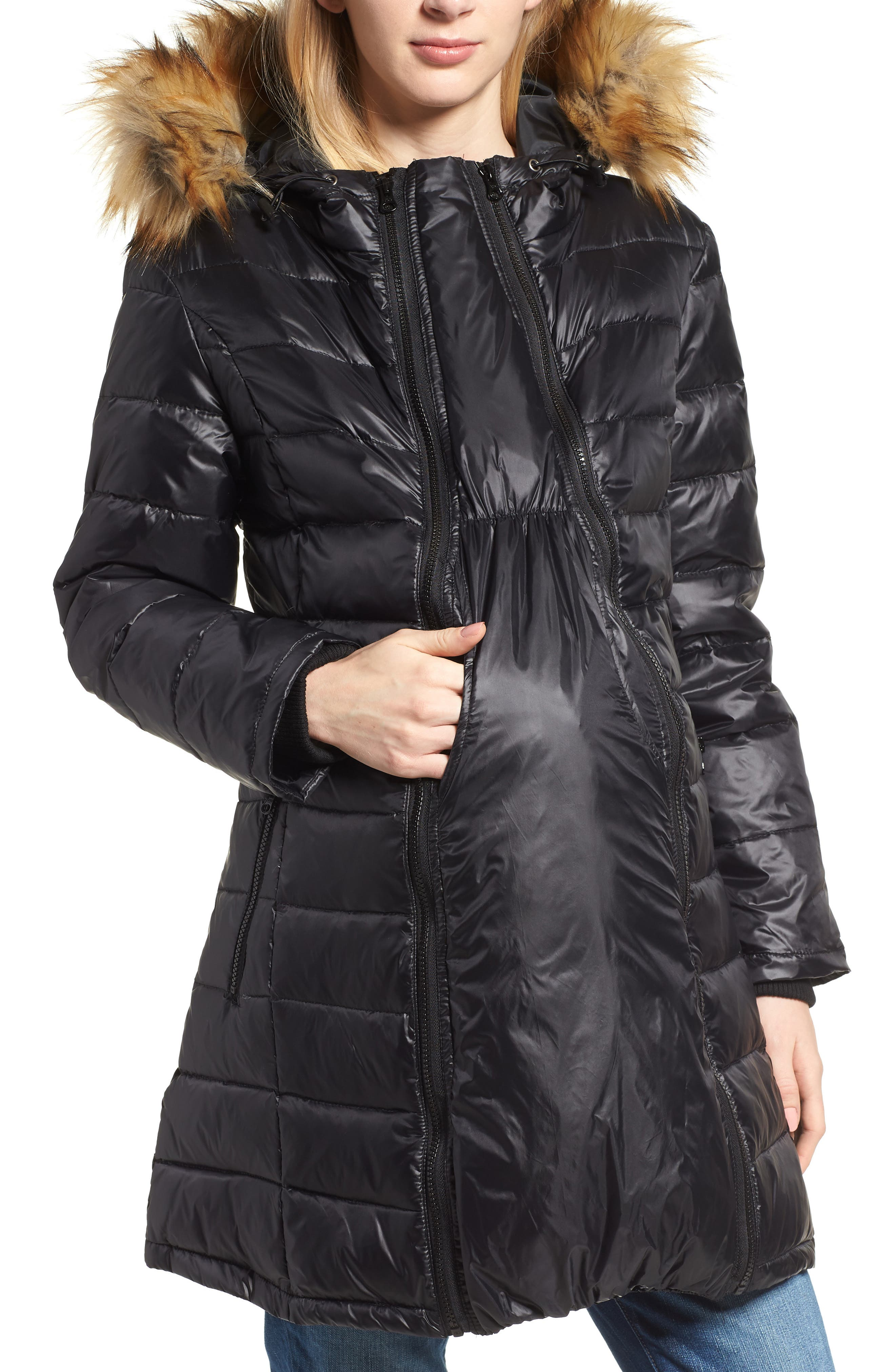 Quilted 3-in-1 Maternity/Nursing Parka,                         Main,                         color, BLACK