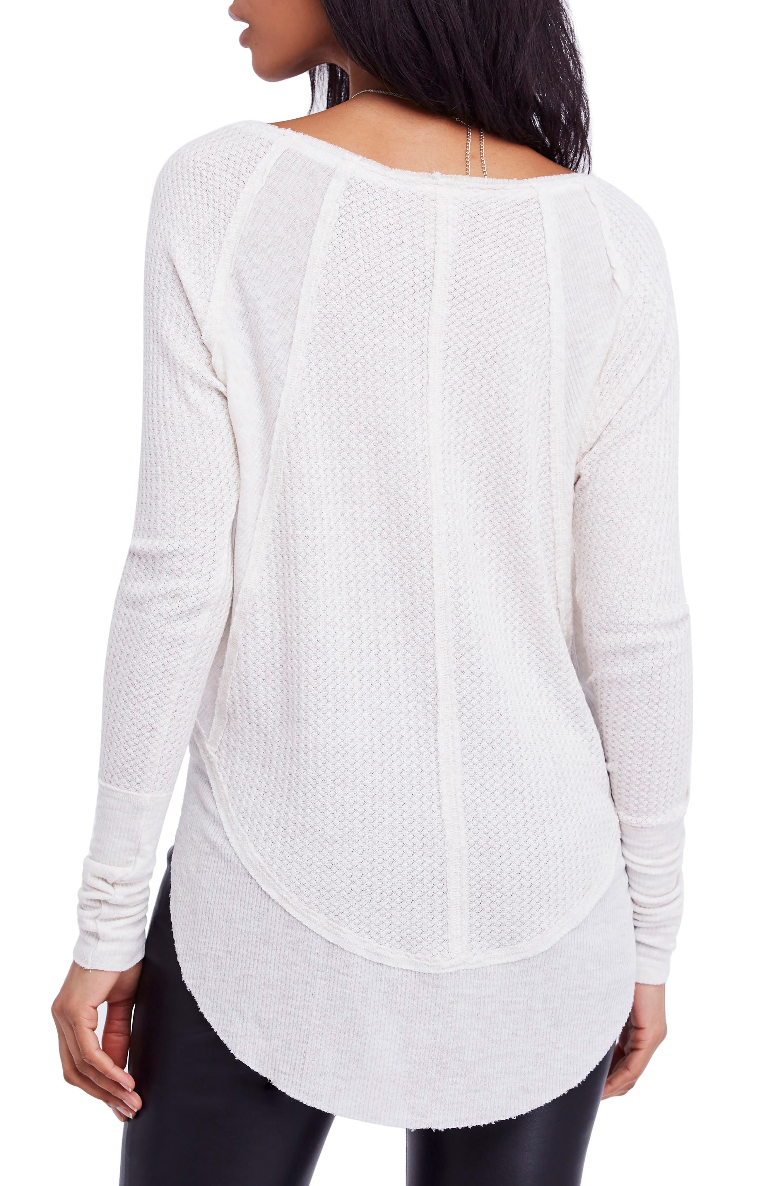 We the Free by Free People Catalina V-Neck Thermal Top,                             Alternate thumbnail 2, color,                             SAND