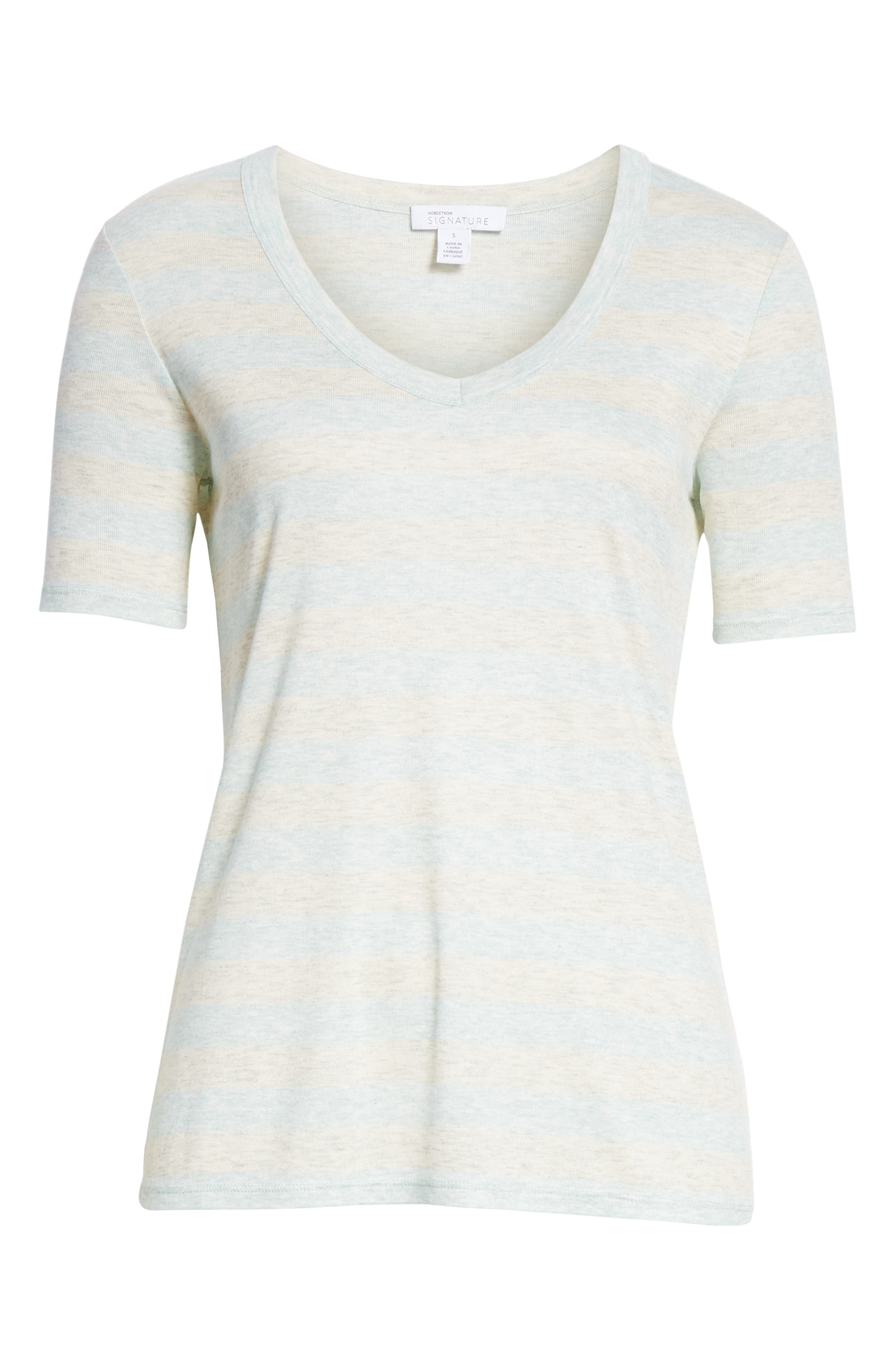 V-Neck Tee,                             Alternate thumbnail 6, color,                             GREY- BLUE EVEN STRIPE
