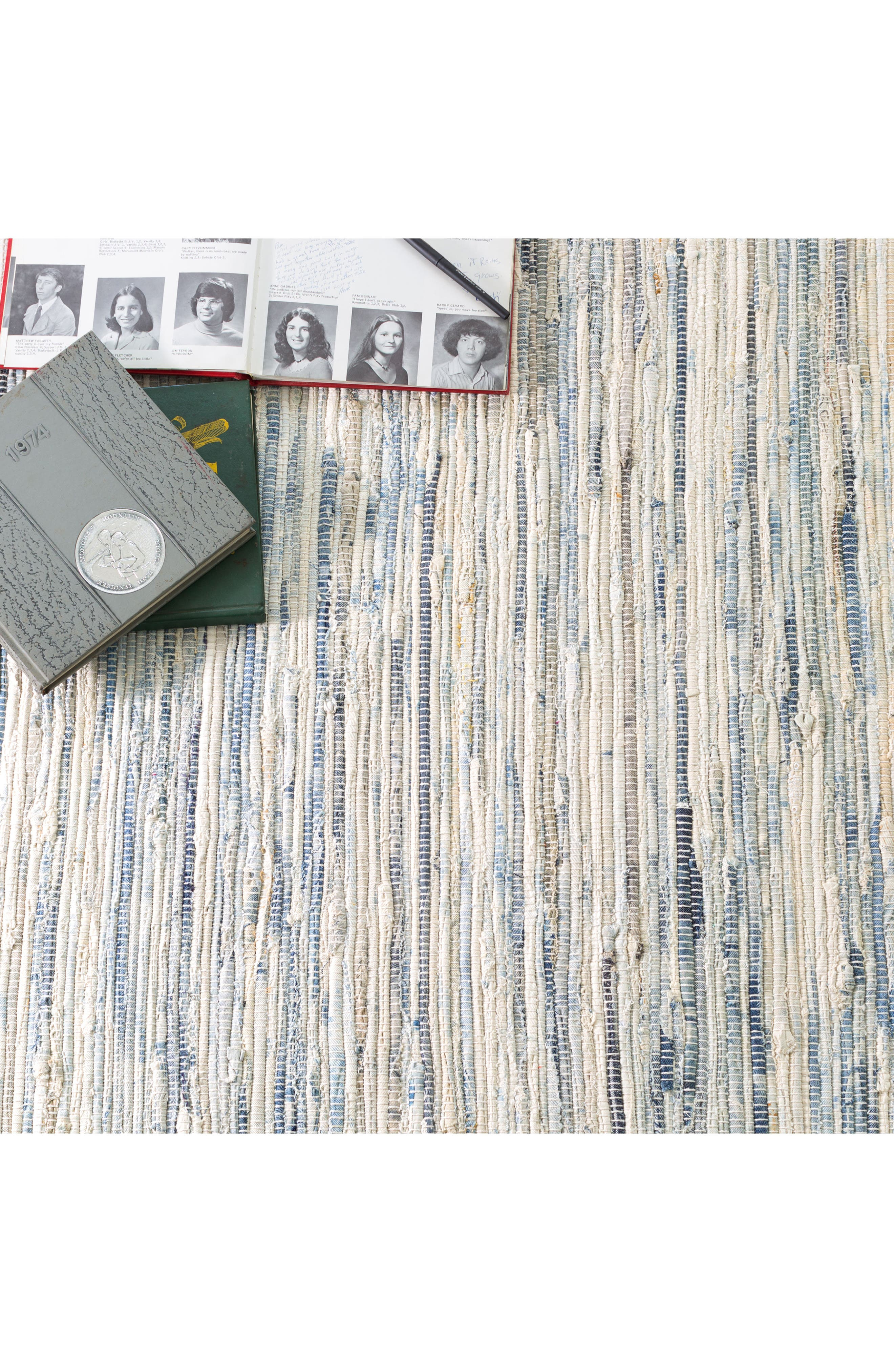 'Rag' Hand Woven Rug,                             Alternate thumbnail 3, color,                             DENIM