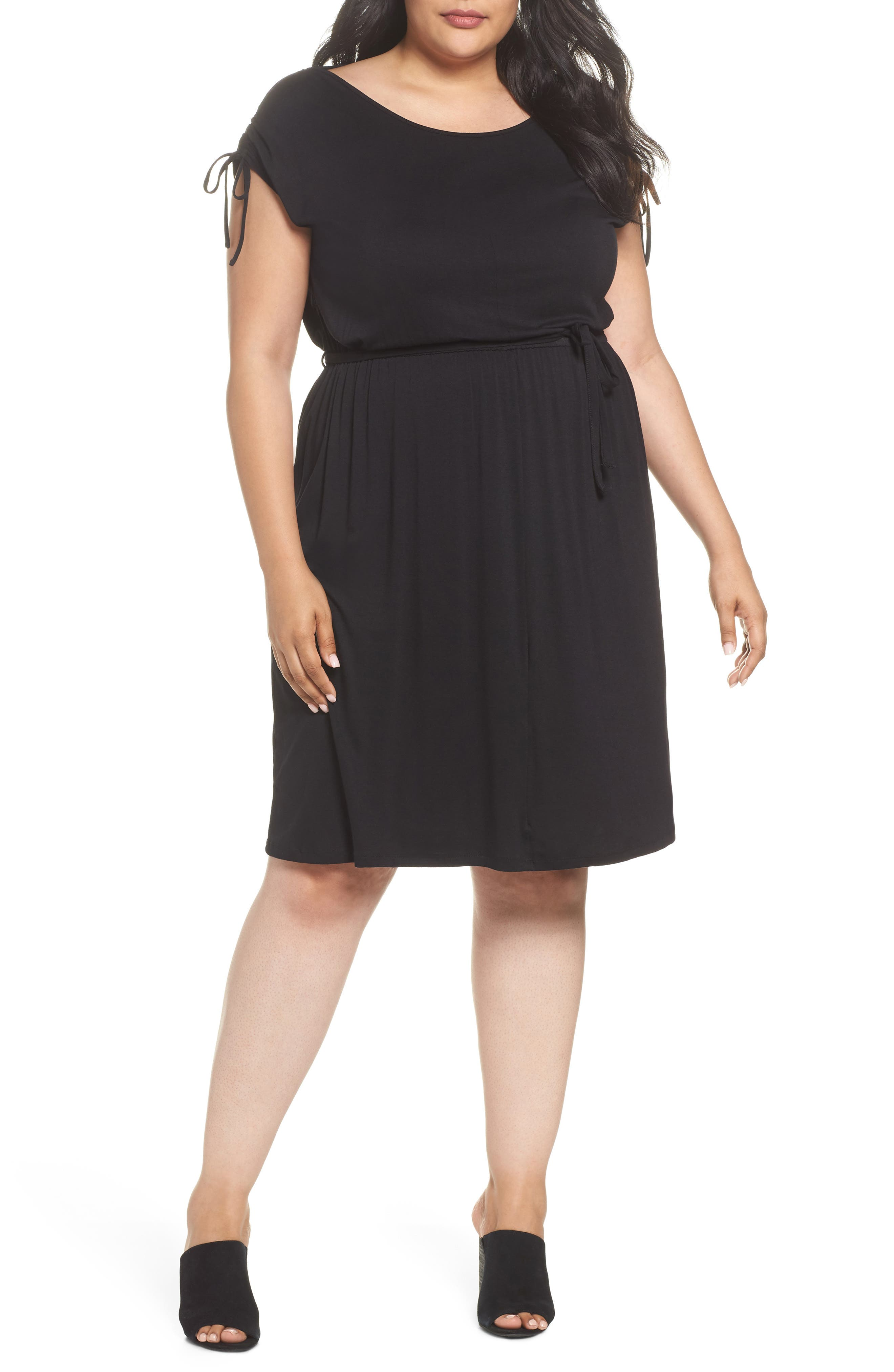 Stretch Jersey Midi Dress,                             Main thumbnail 1, color,