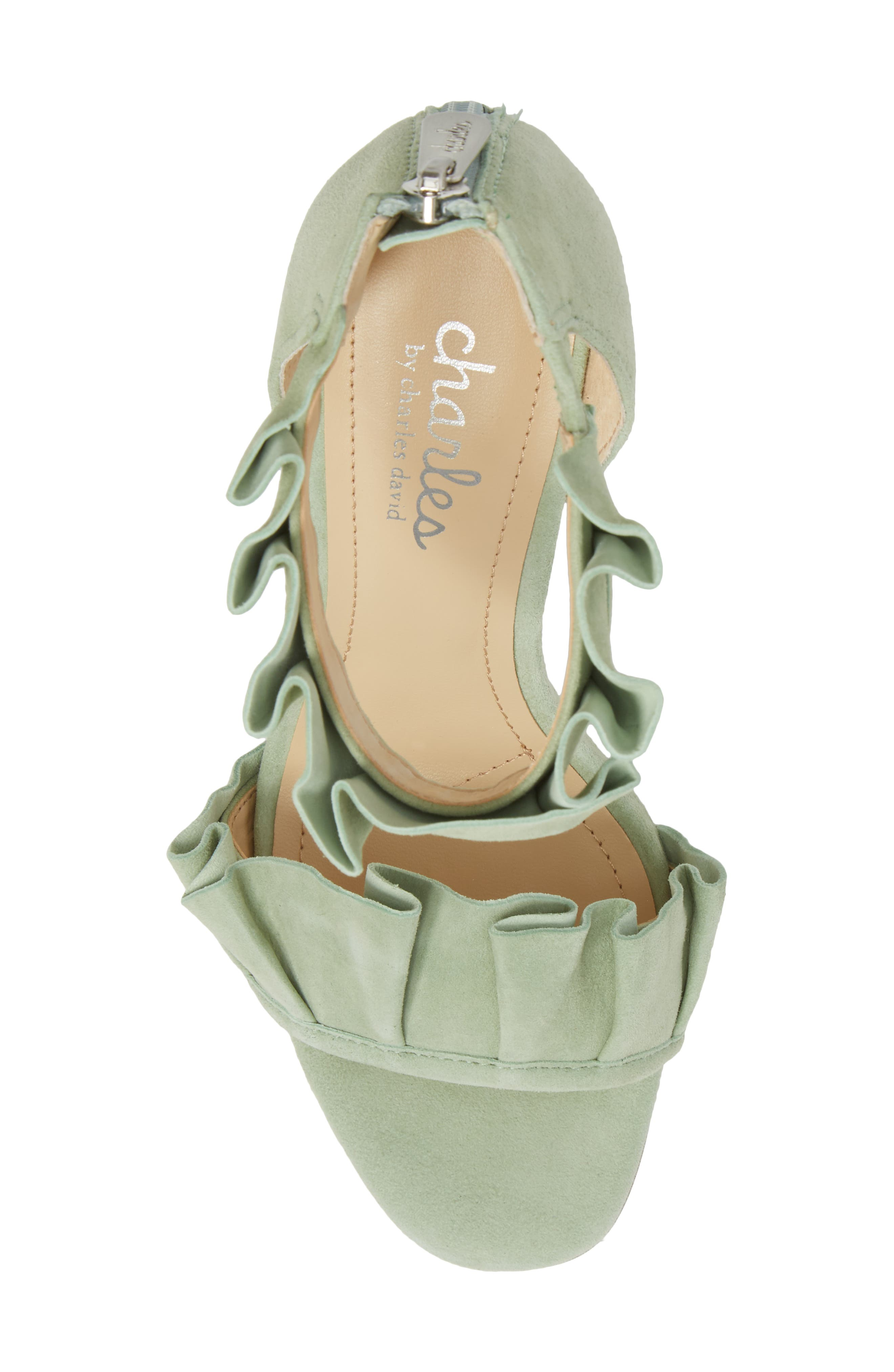 Haley Ruffle Sandal,                             Alternate thumbnail 5, color,                             MINT SUEDE
