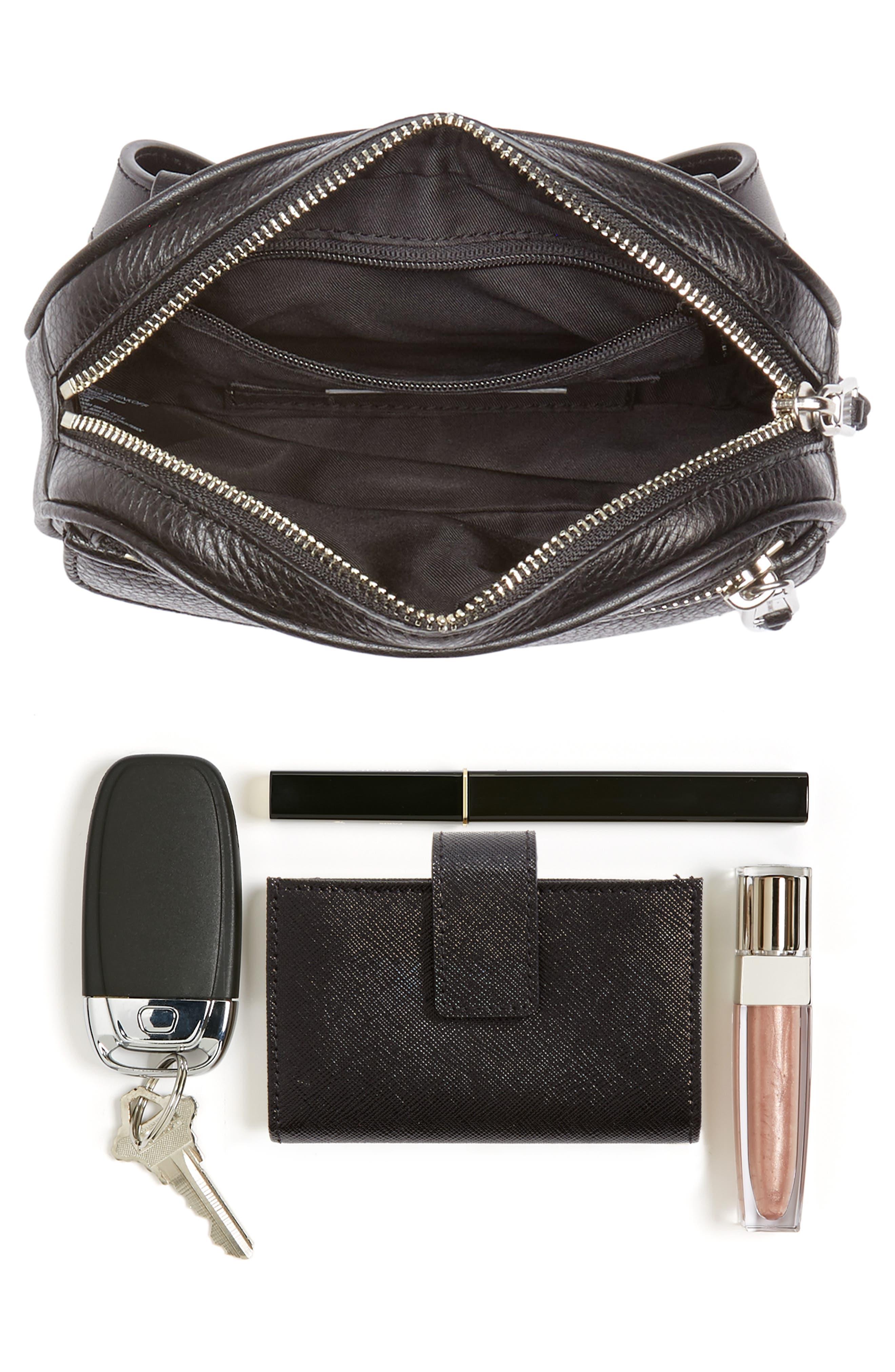 Blythe Leather Belt Bag,                             Alternate thumbnail 8, color,                             BLACK
