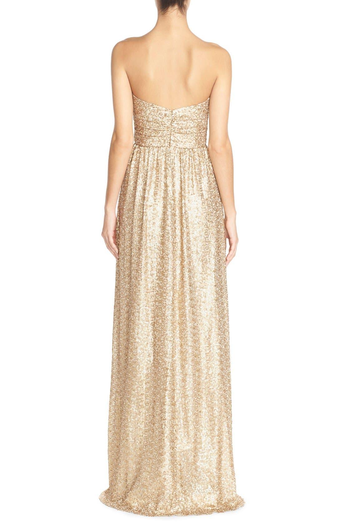 'London' Sequin Tulle Strapless Column Gown,                             Alternate thumbnail 4, color,                             710