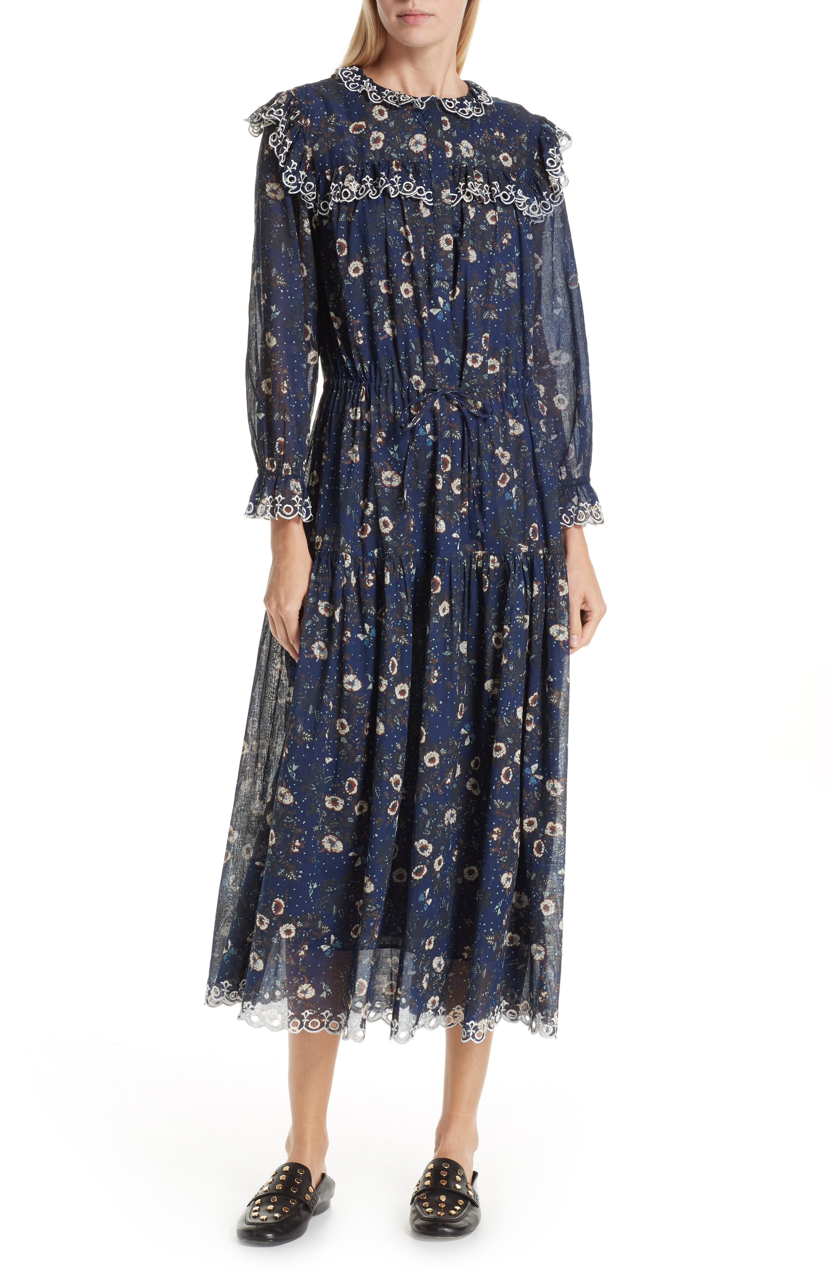 70s Dresses – Disco Dresses, Hippie Dresses, Wrap Dresses Womens Isabel Marant Etoile Eina Floral Print Midi Dress Size 12 US  44 FR - Blue $287.49 AT vintagedancer.com