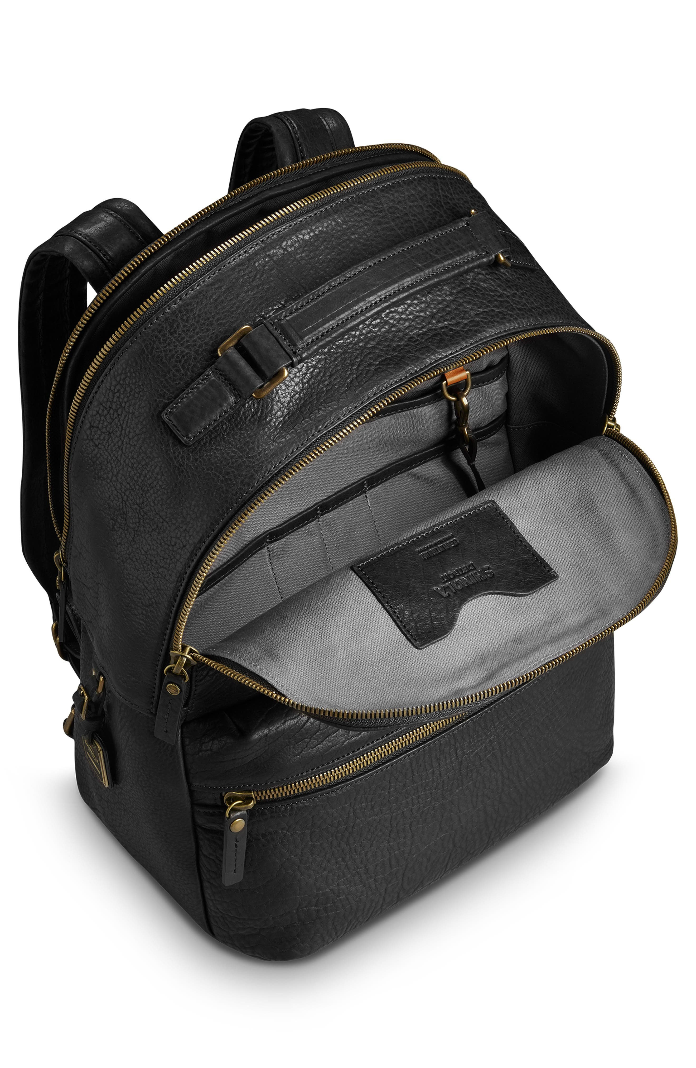 Bison Runwell Leather Backpack,                             Alternate thumbnail 3, color,                             BLACK