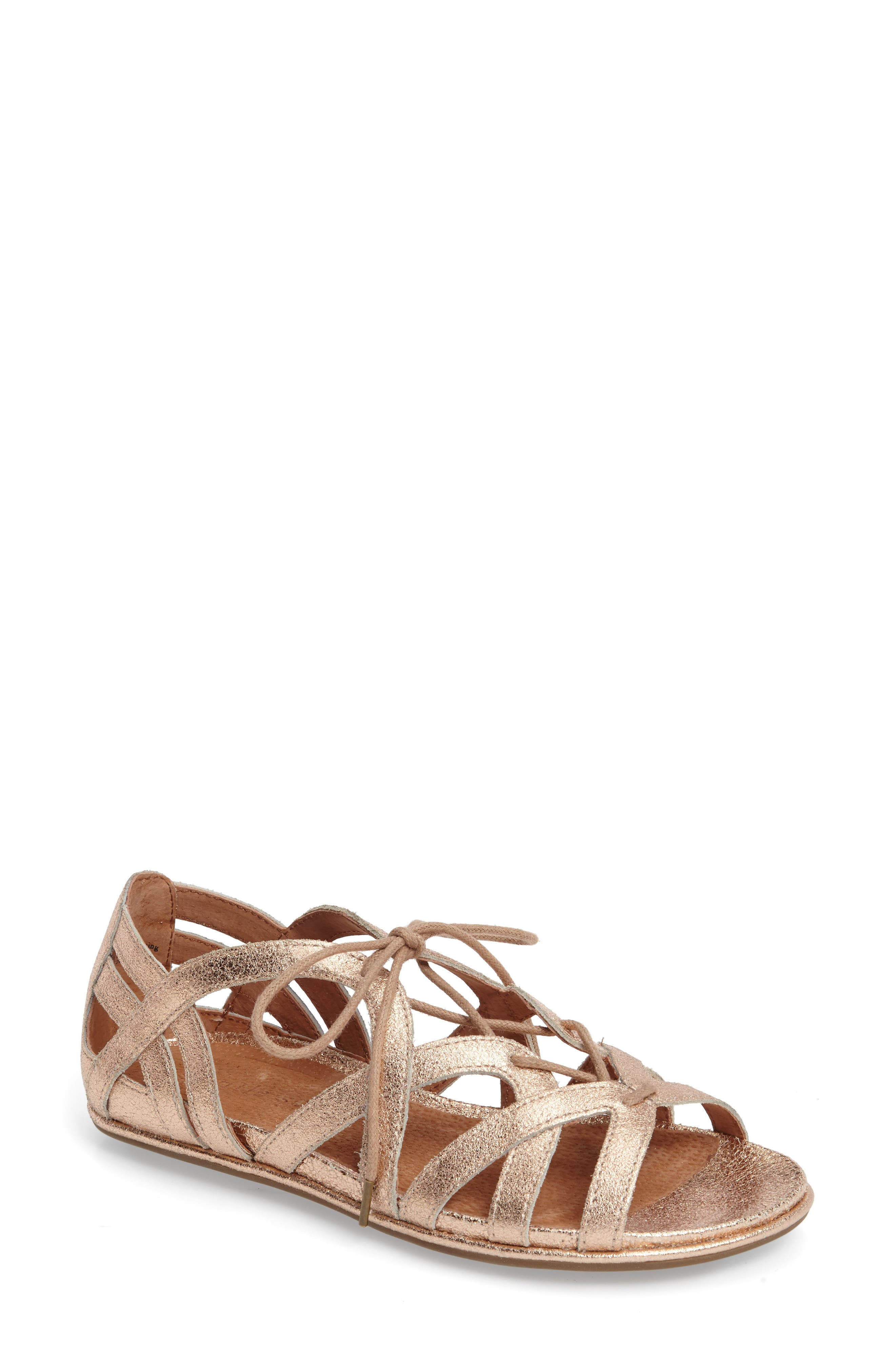Orly Lace-Up Sandal,                         Main,                         color, ROSE GOLD LEATHER